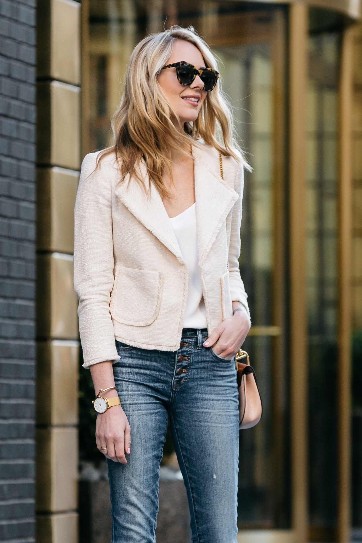Fashion Jackson, Dallas Blogger, Fashion Blogger, Street Style, Ann Taylor Blush Tweed Jacket, Club Monaco White Cami, Madewell Denim Skinny Jeans, Chloe Drew Handbag
