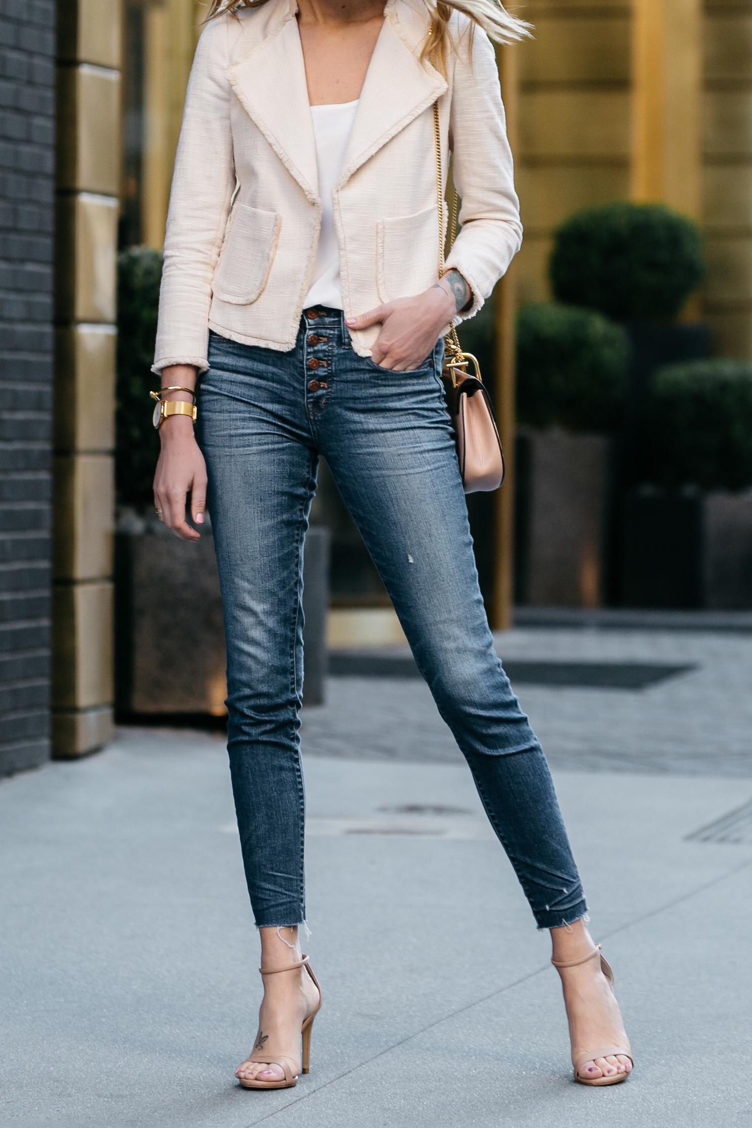 Fashion Jackson, Dallas Blogger, Fashion Blogger, Street Style, Ann Taylor Blush Tweed Jacket, Club Monaco White Cami, Madewell Denim Skinny Jeans, Chloe Drew Handbag, Steve Madden Nude Ankle Strap Heels