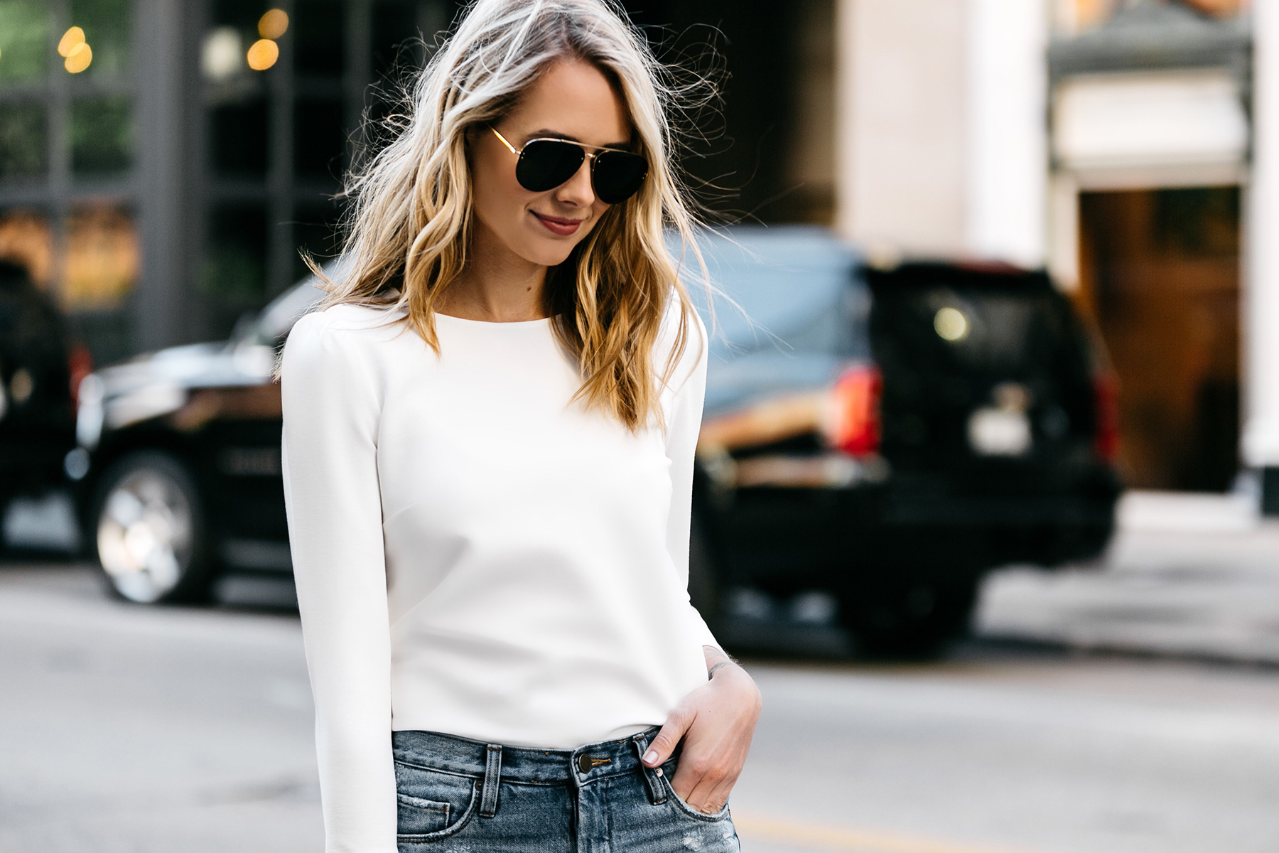 Fashion Jackson, Dallas, Blogger, Fashion Blogger, Street Style, Ann Taylor White Puff Sleeve Top, Celine Aviator Sunglasses