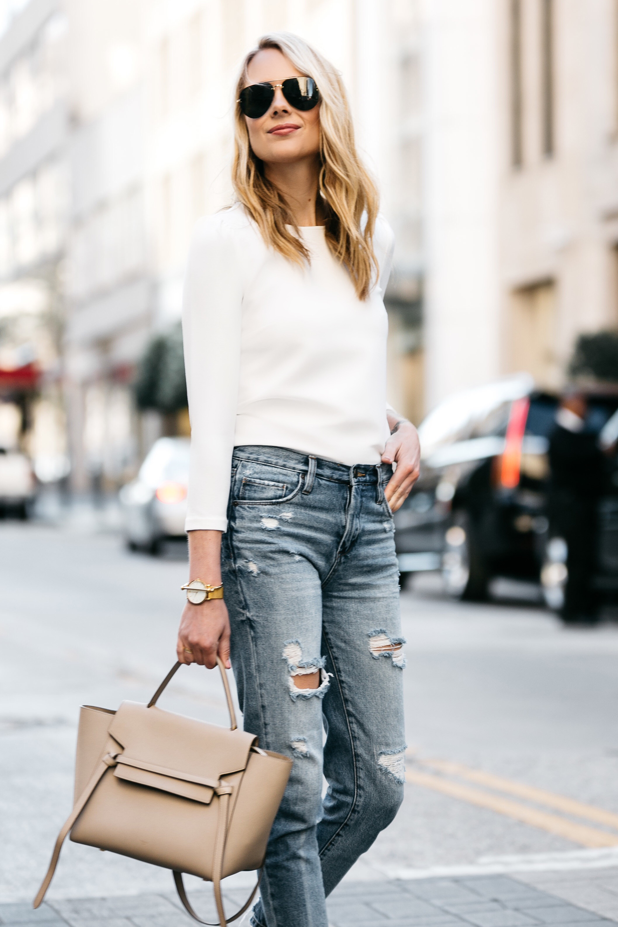 Fashion Jackson, Dallas, Blogger, Fashion Blogger, Street Style, Ann Taylor White Puff Sleeve Top, Celine Belt Bag, Blanknyc Denim Ripped Mom Jeans