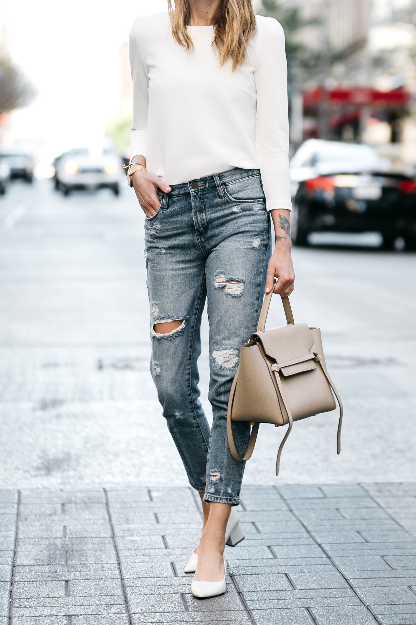 Fashion Jackson, Dallas, Blogger, Fashion Blogger, Street Style, Ann Taylor White Puff Sleeve Top, Celine Belt Bag, Zara White Block Heels, Blanknyc Denim Ripped Mom Jeans