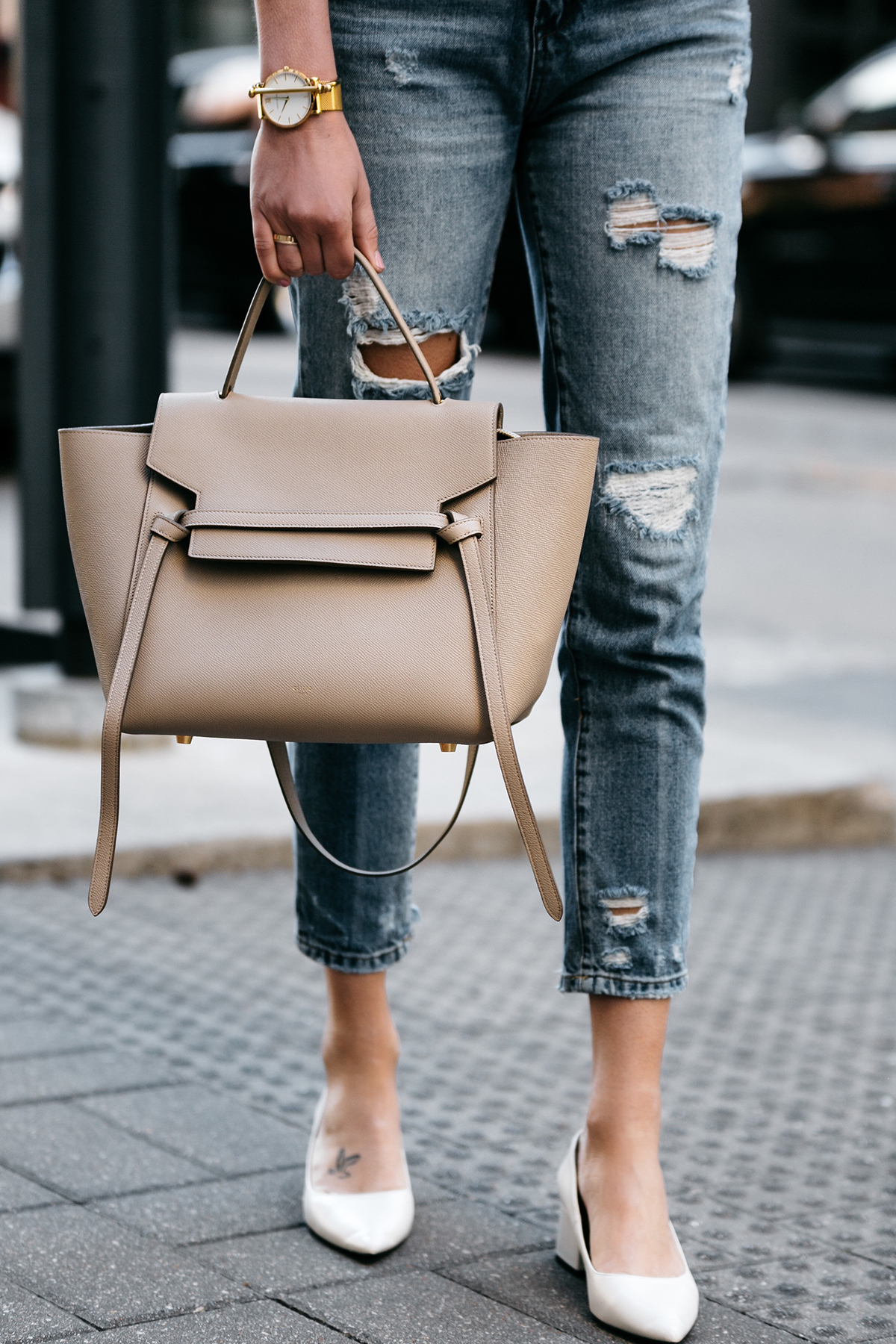 Fashion Jackson, Dallas, Blogger, Fashion Blogger, Street Style, Celine Belt Bag, Zara White Block Heels, Blanknyc Denim Ripped Mom Jeans