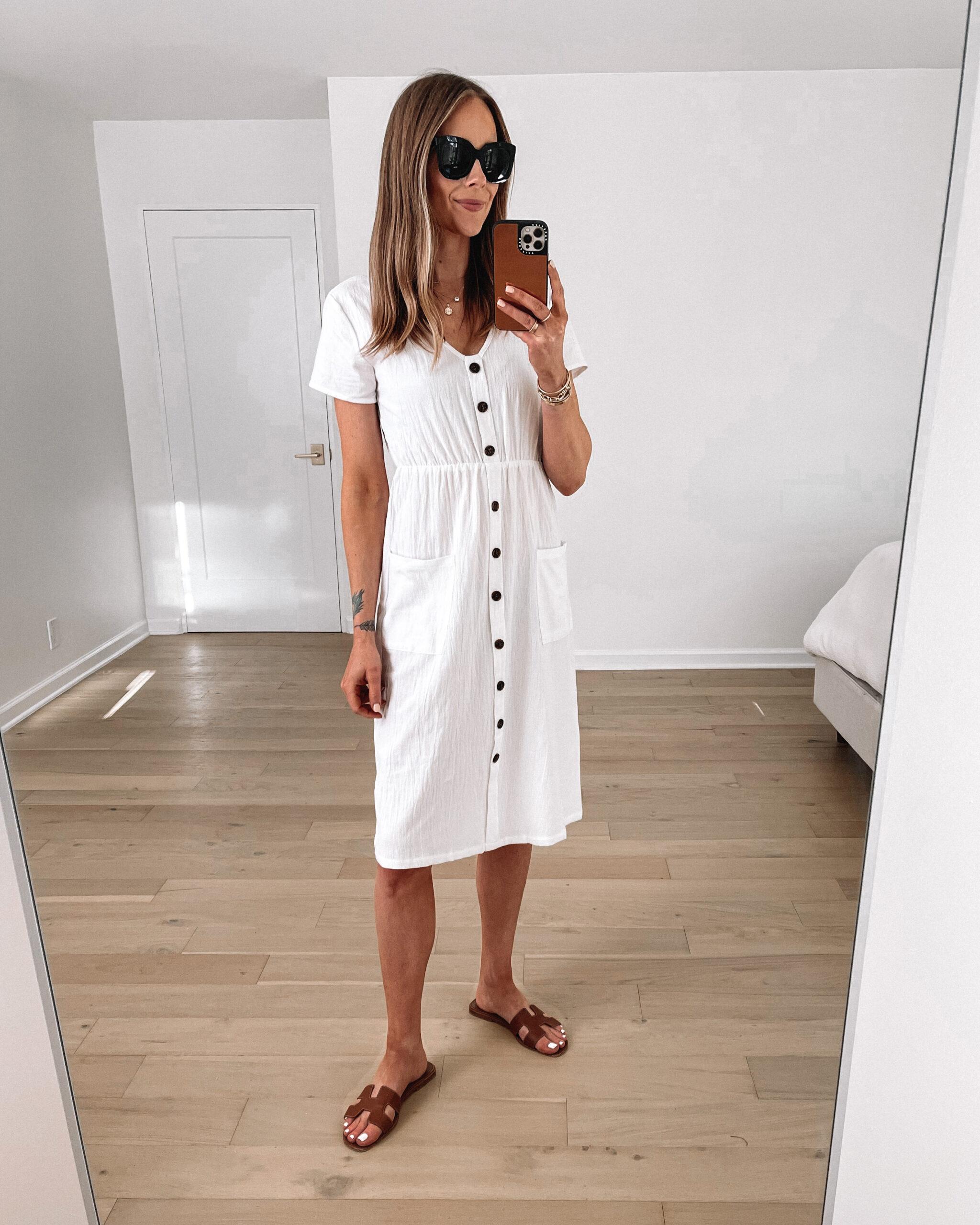 Fashion Jackson Wearing Amazon Fashion White Midi Dress Hermes Brown Sandals