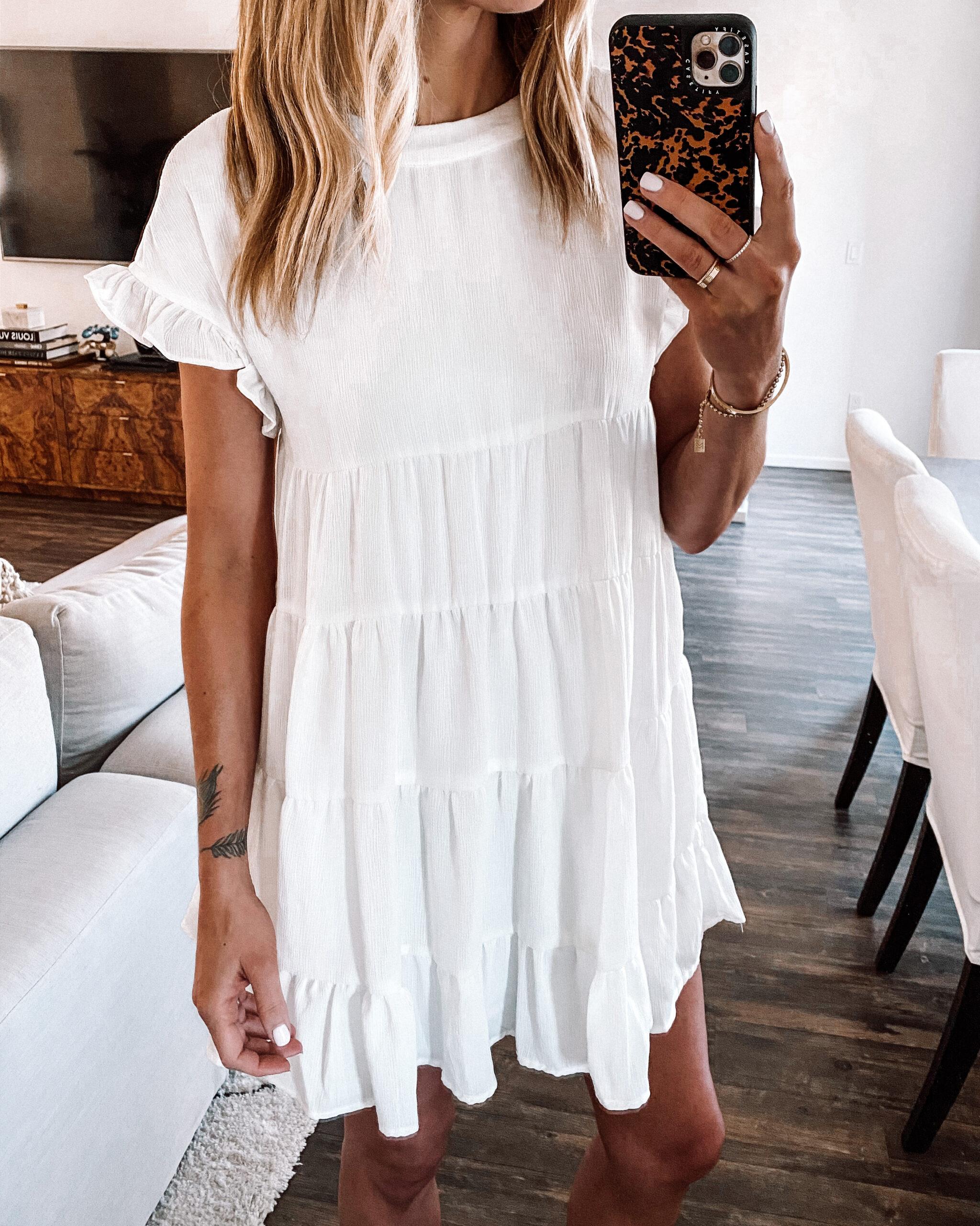 Fashion Jackson Wearing Amazon Fashion White Ruffle Sleeve Dress