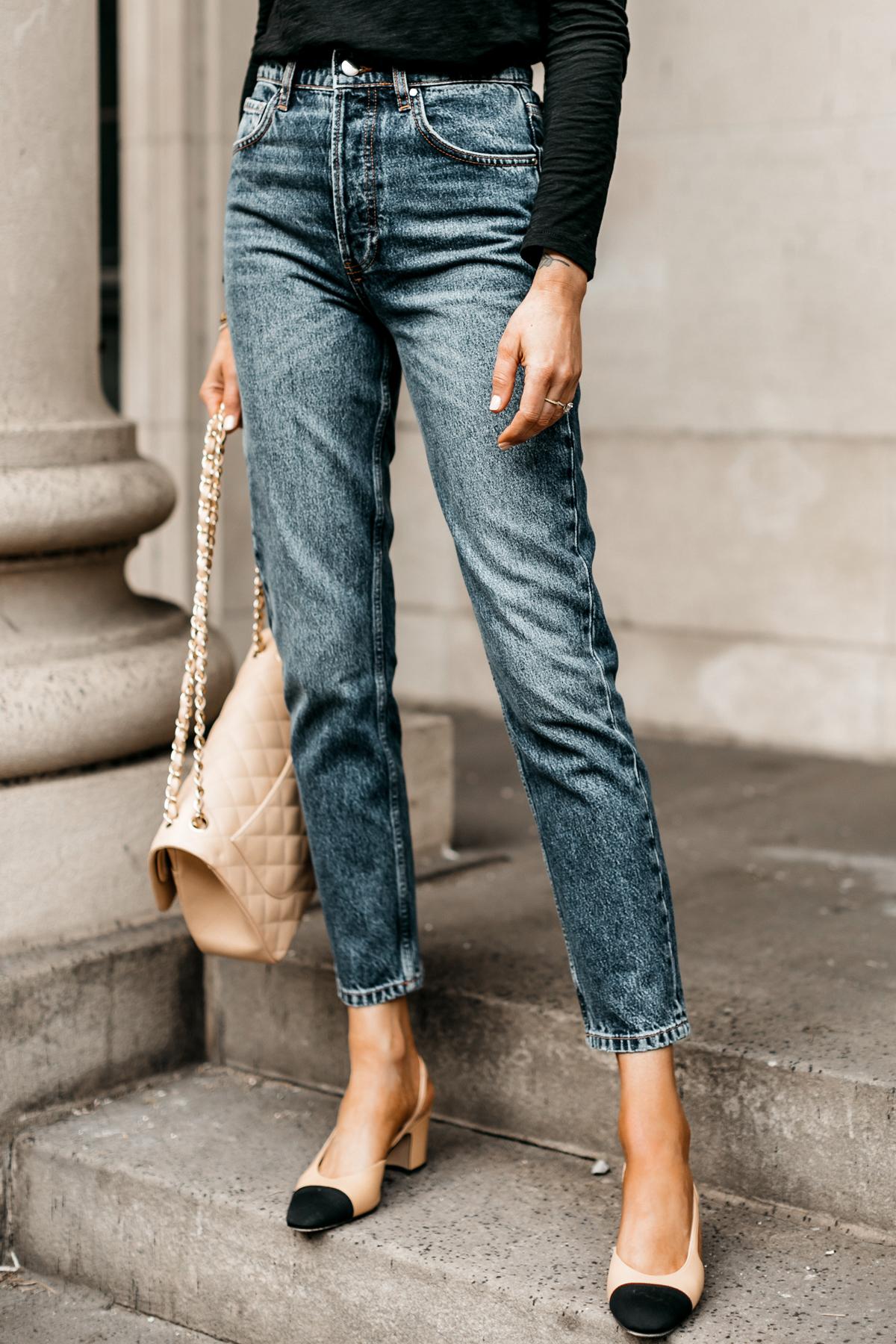 Fashion Jackson Wearing Anine Bing Sonya High Waist Slim Jeans Chanel Slinbbacks