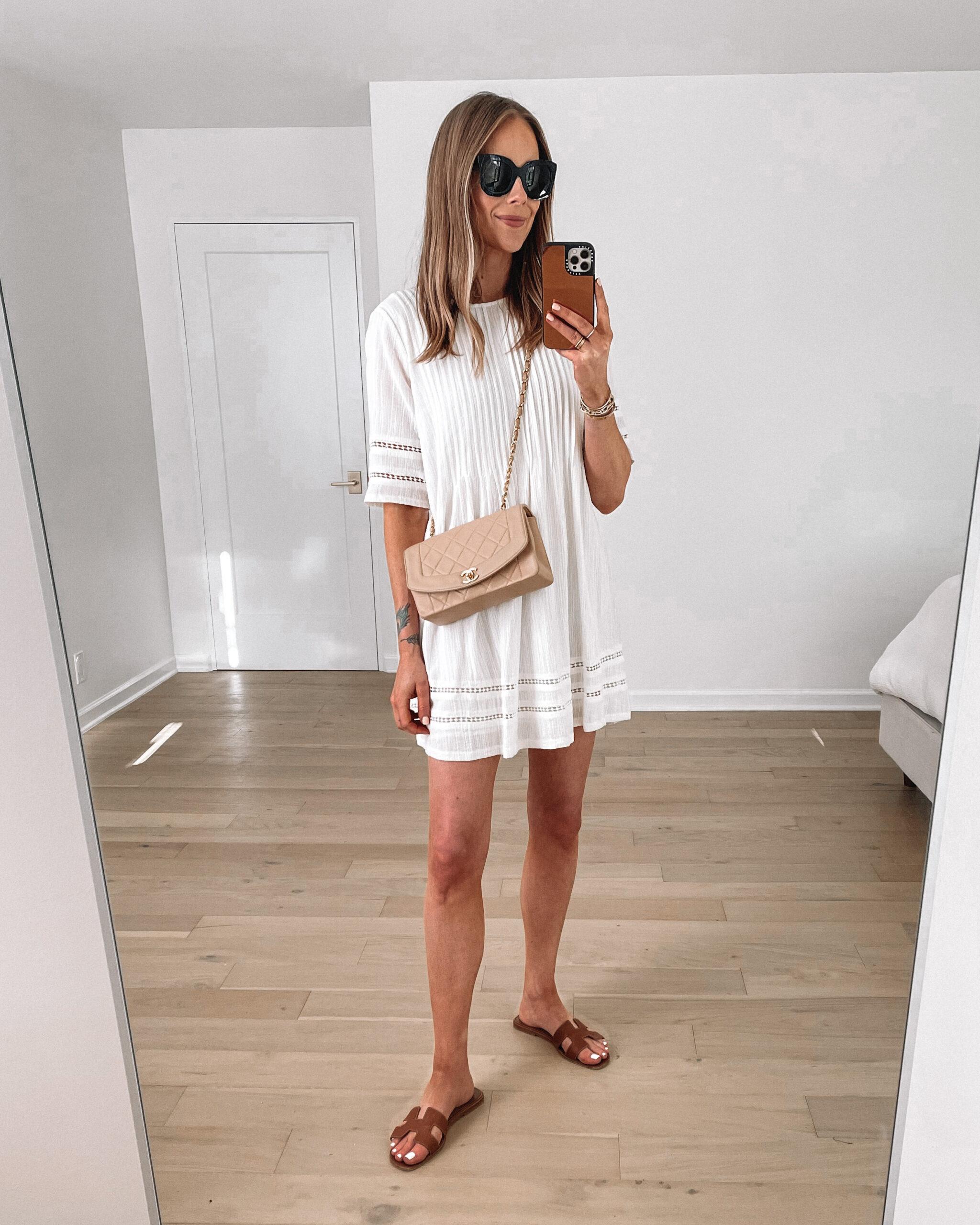 Fashion Jackson Wearing Casual White Dress Brown Hermes Sandals