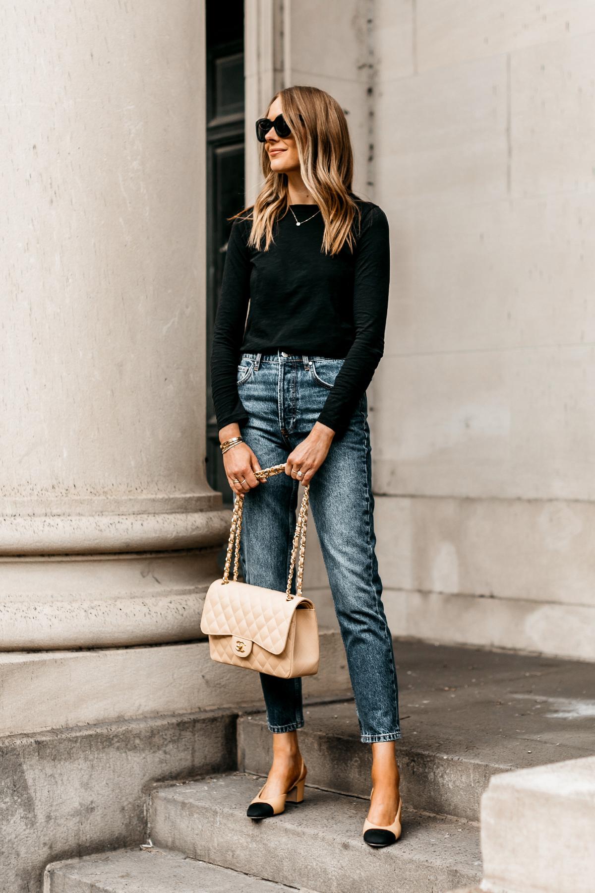 Fashion Jackson Wearing Madewell Black Long Sleeve T-Shirt Anine Bing Sonya High Waist Slim Jeans Chanel Slinbbacks Chanel Beige Jumbo Handbag
