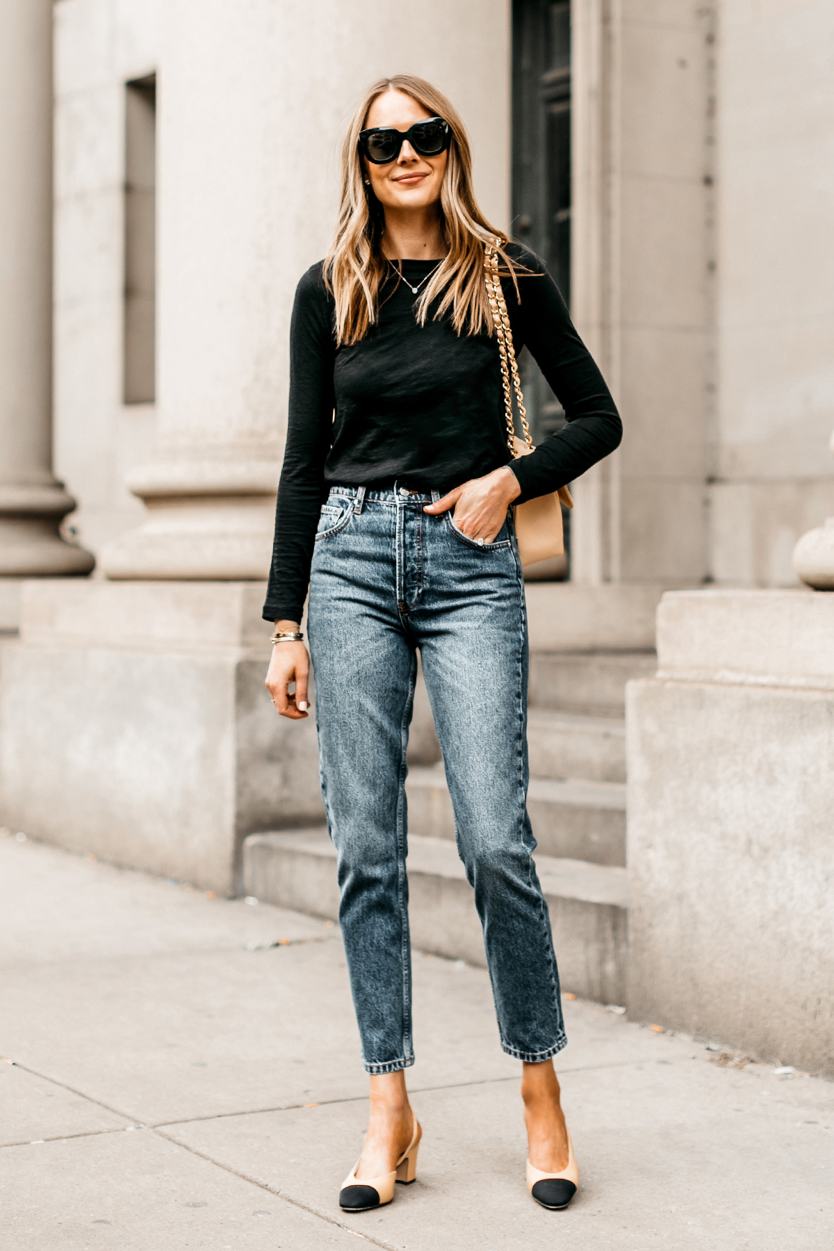 Fashion Jackson Wearing Madewell Black Long Sleeve T-Shirt Anine Bing Sonya High Waist Slim Jeans Chanel Slinbbacks