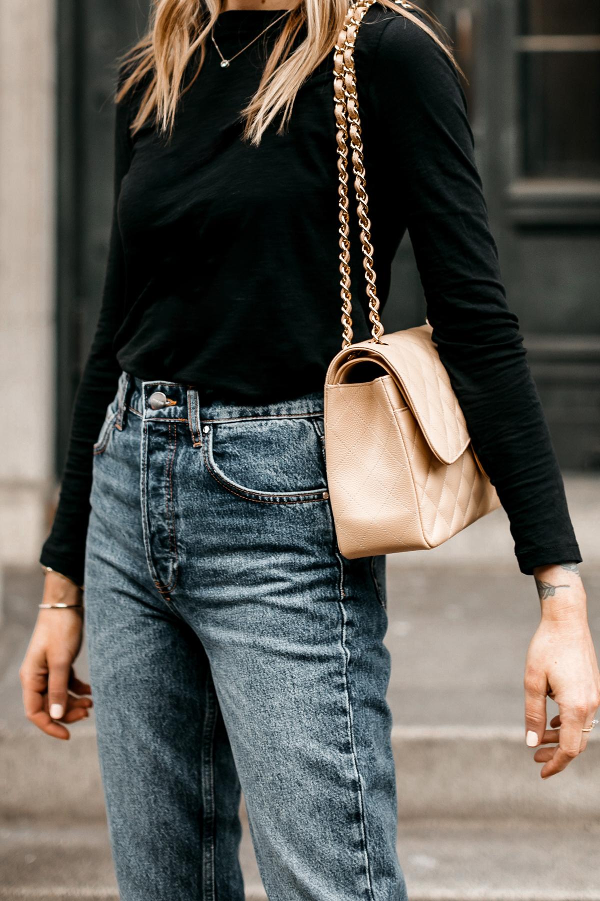 Fashion Jackson Wearing Madewell Black Long Sleeve Tshirt Anine Bing Jeans Beige Chanel Handbag