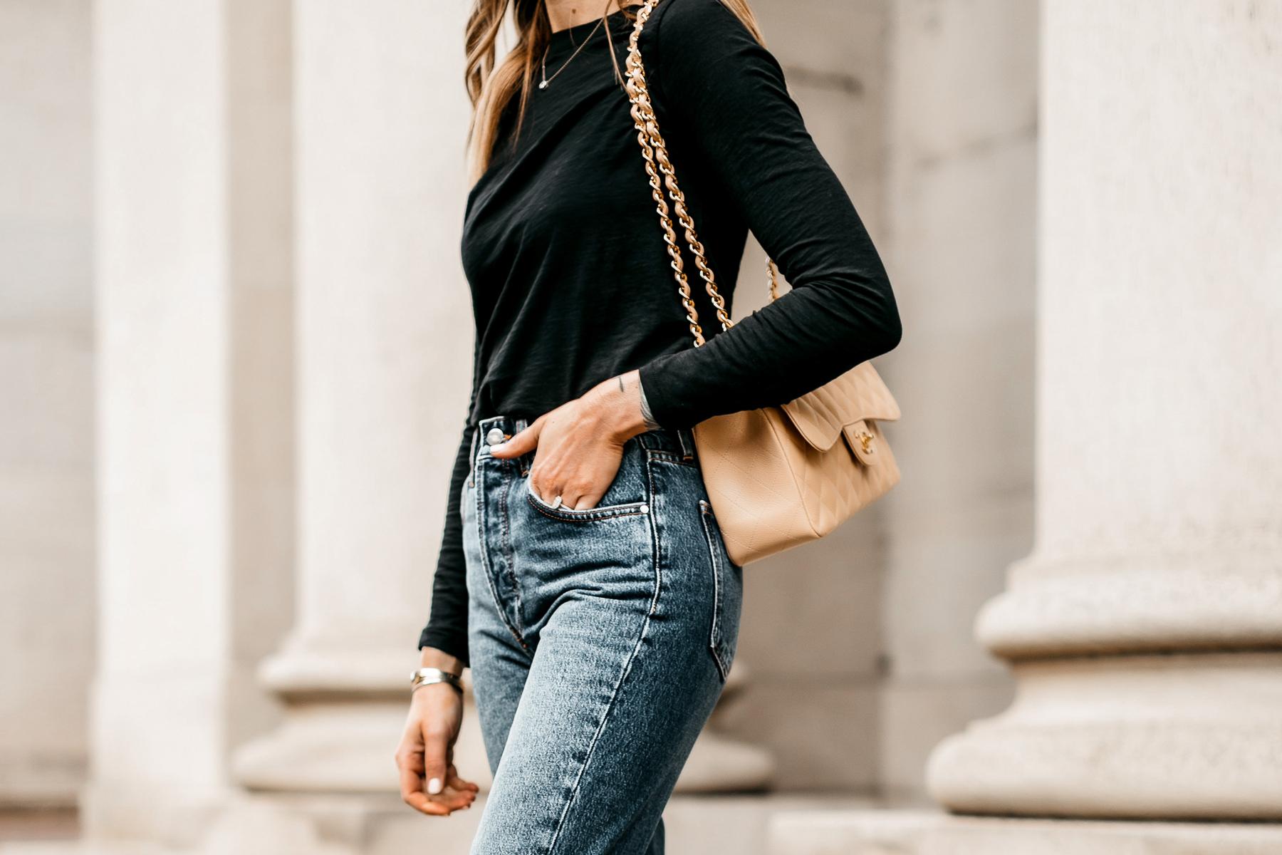 Fashion Jackson Wearing Madewell Black Long Sleeve Tshirt Anine Bing Jeans Beige Chanel Jumbo Handbag