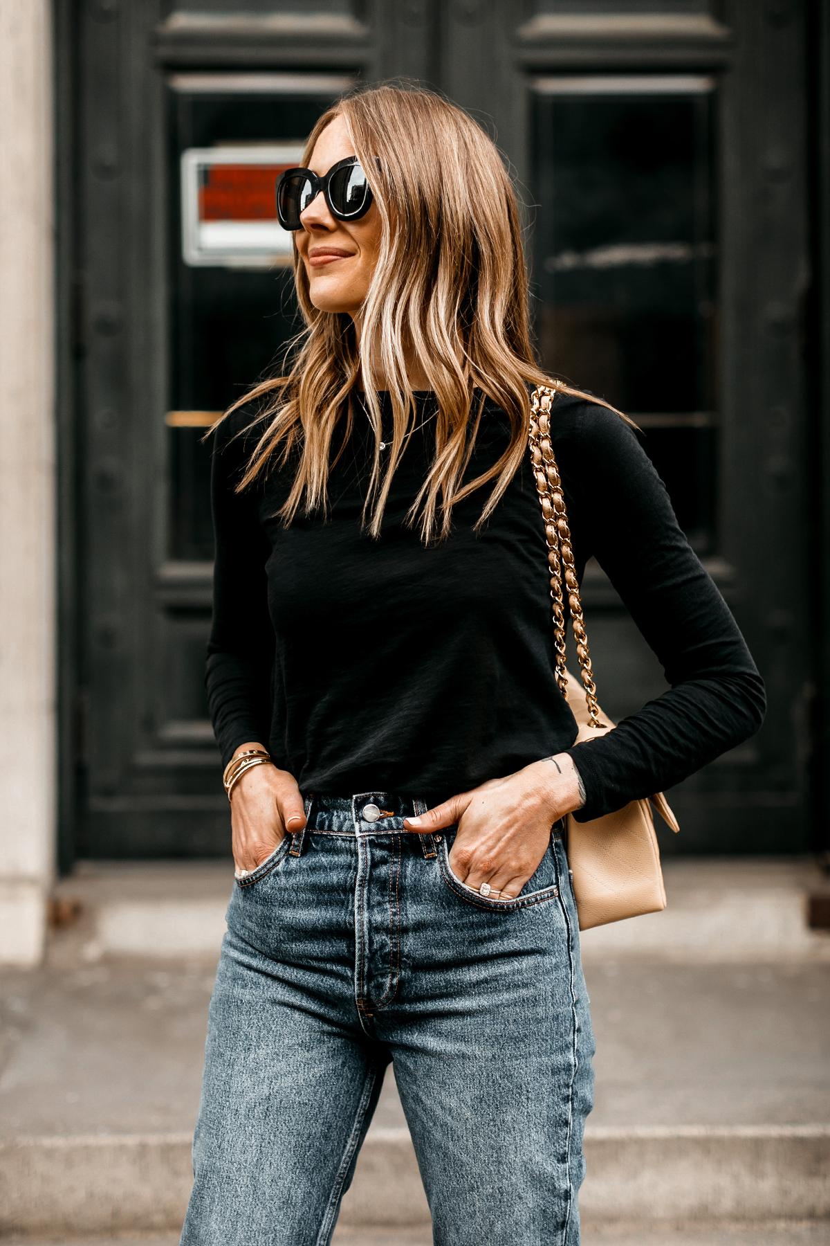 Fashion Jackson Wearing Madewell Black Long Sleeve Tshirt Anine Bing Jeans