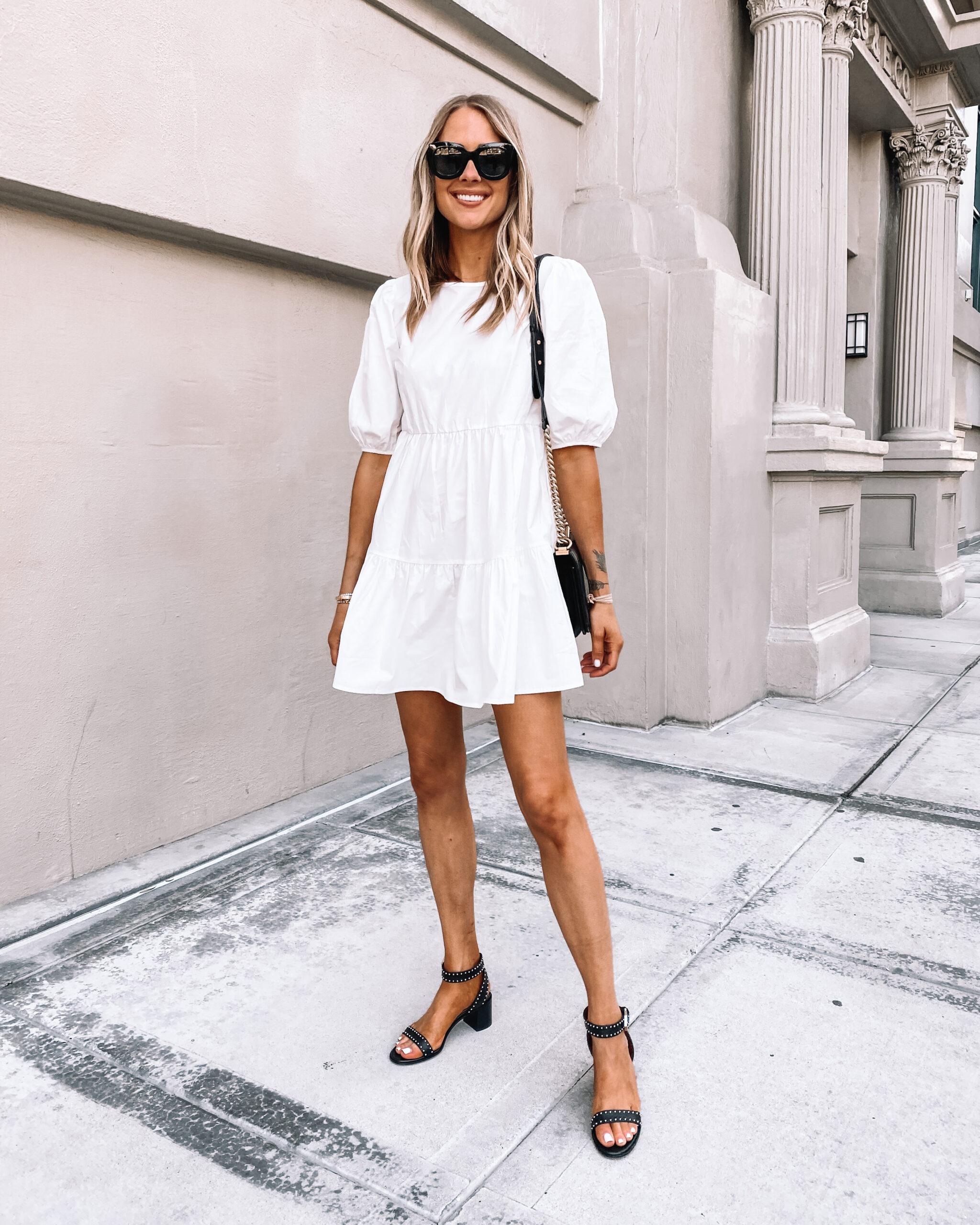 Fashion Jackson Wearing White Puff Sleeve Dress Black Sandals