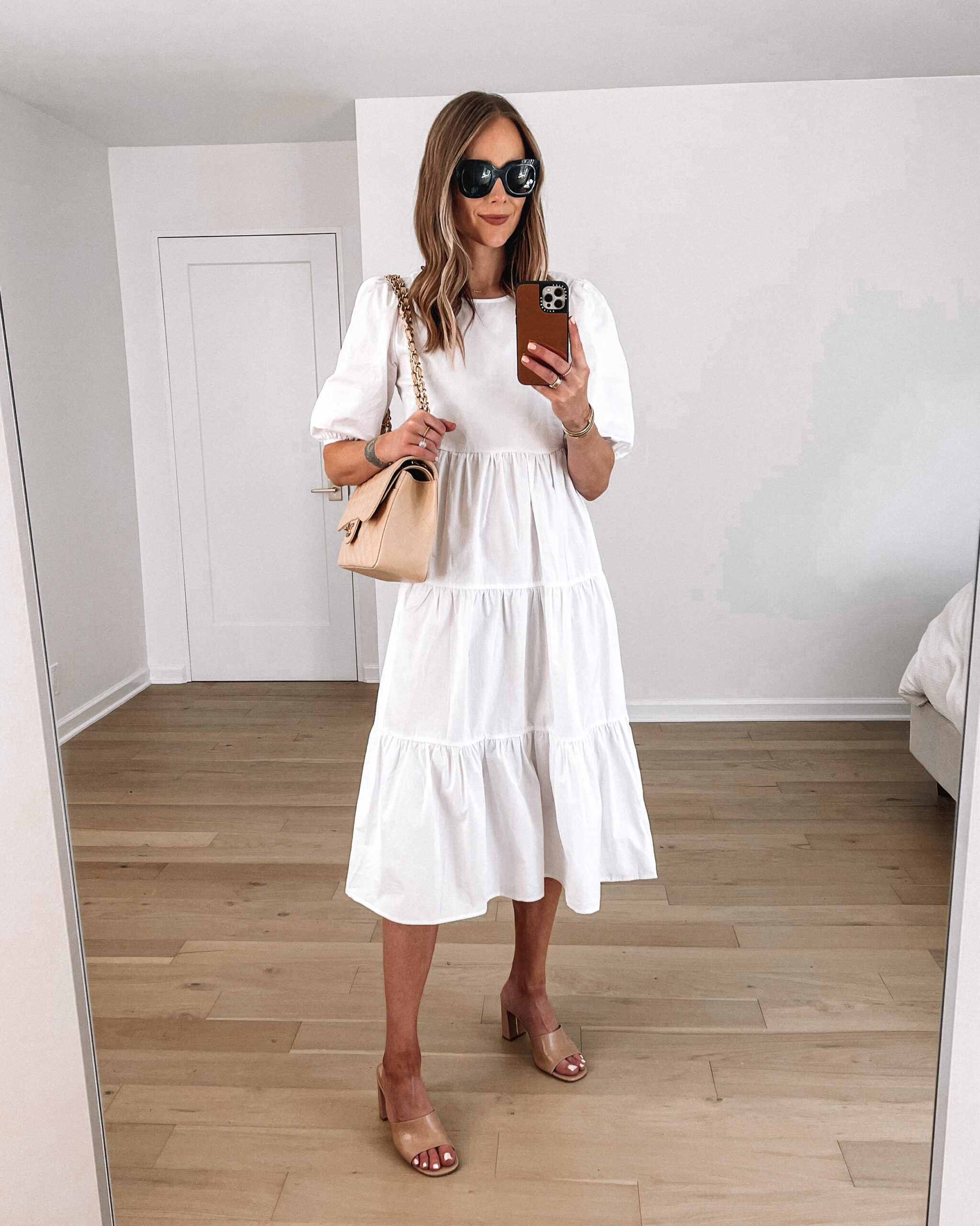 Fashion Jackson Wearing White Puff Sleeve Midi Dress Nude Sandals