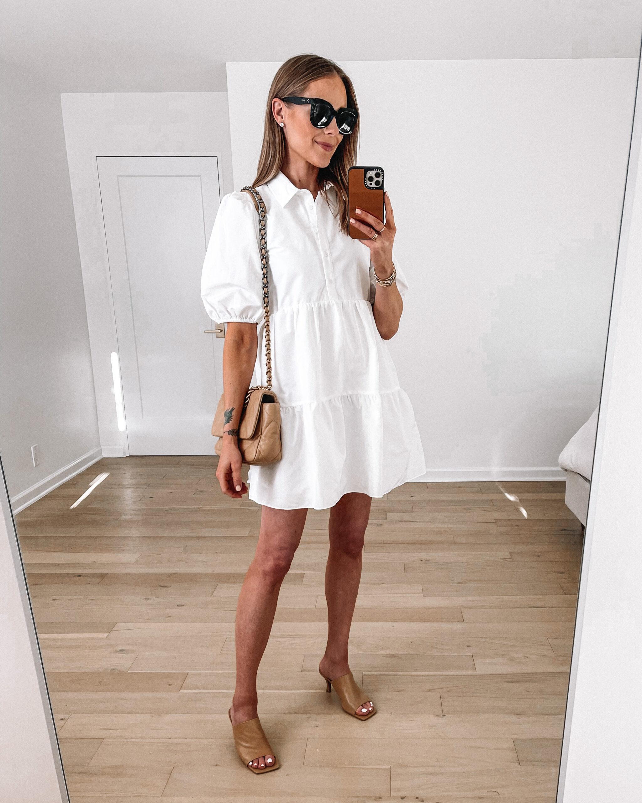 Fashion Jackson Wearing White Puff Sleeve Shirt Dress Heeled Nude Sandals