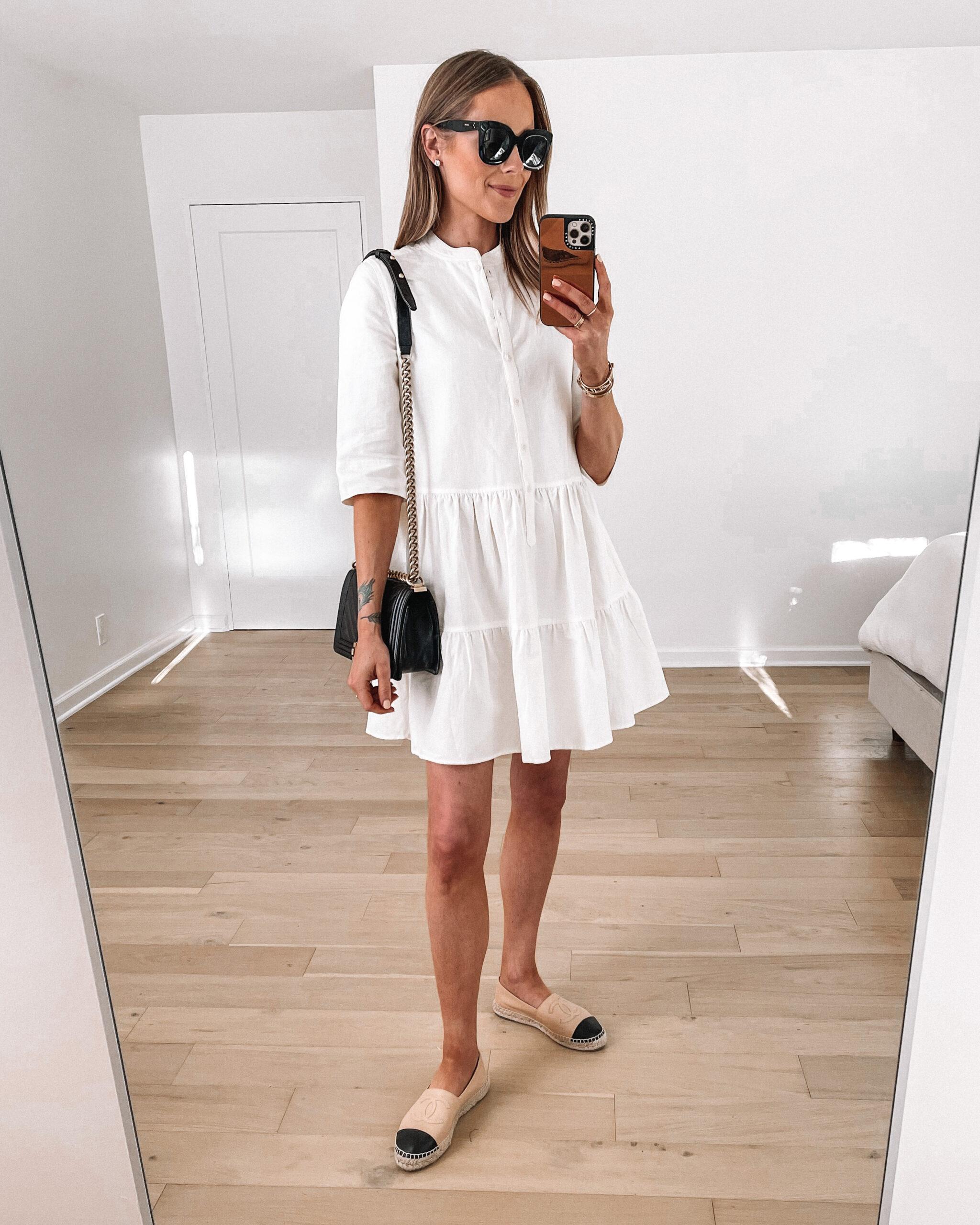 Fashion Jackson Wearing White Tiered Mini Dress Chanel Espadrilles