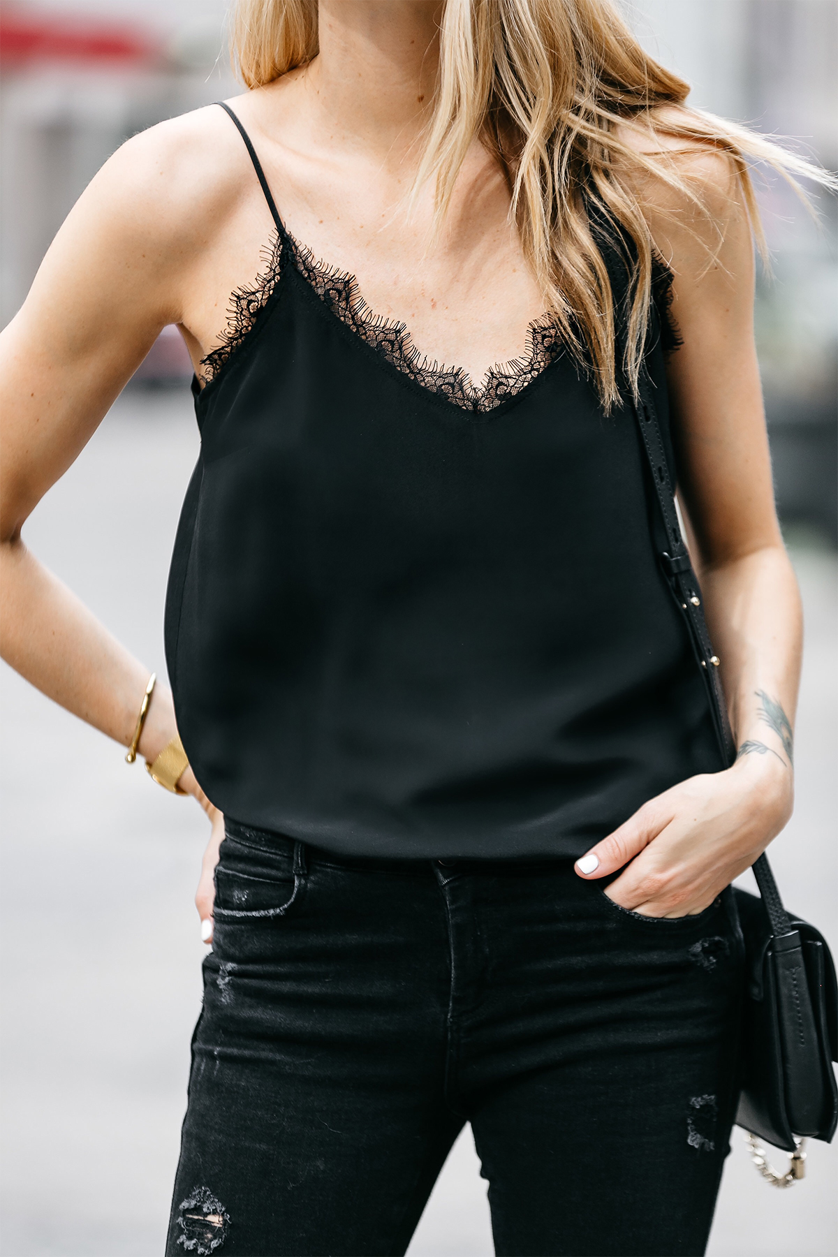Fashion Jackson, Dallas Blogger, Fashion Blogger, Street Style, Anine Bing Black Lace Camisole, Zara Black Denim Ripped Skinny Jeans, Chloe Faye Black Handbag, Celine Aviator Sunglasses, Steve Madden Carrson Black Ankle Strap Heeled Sandals