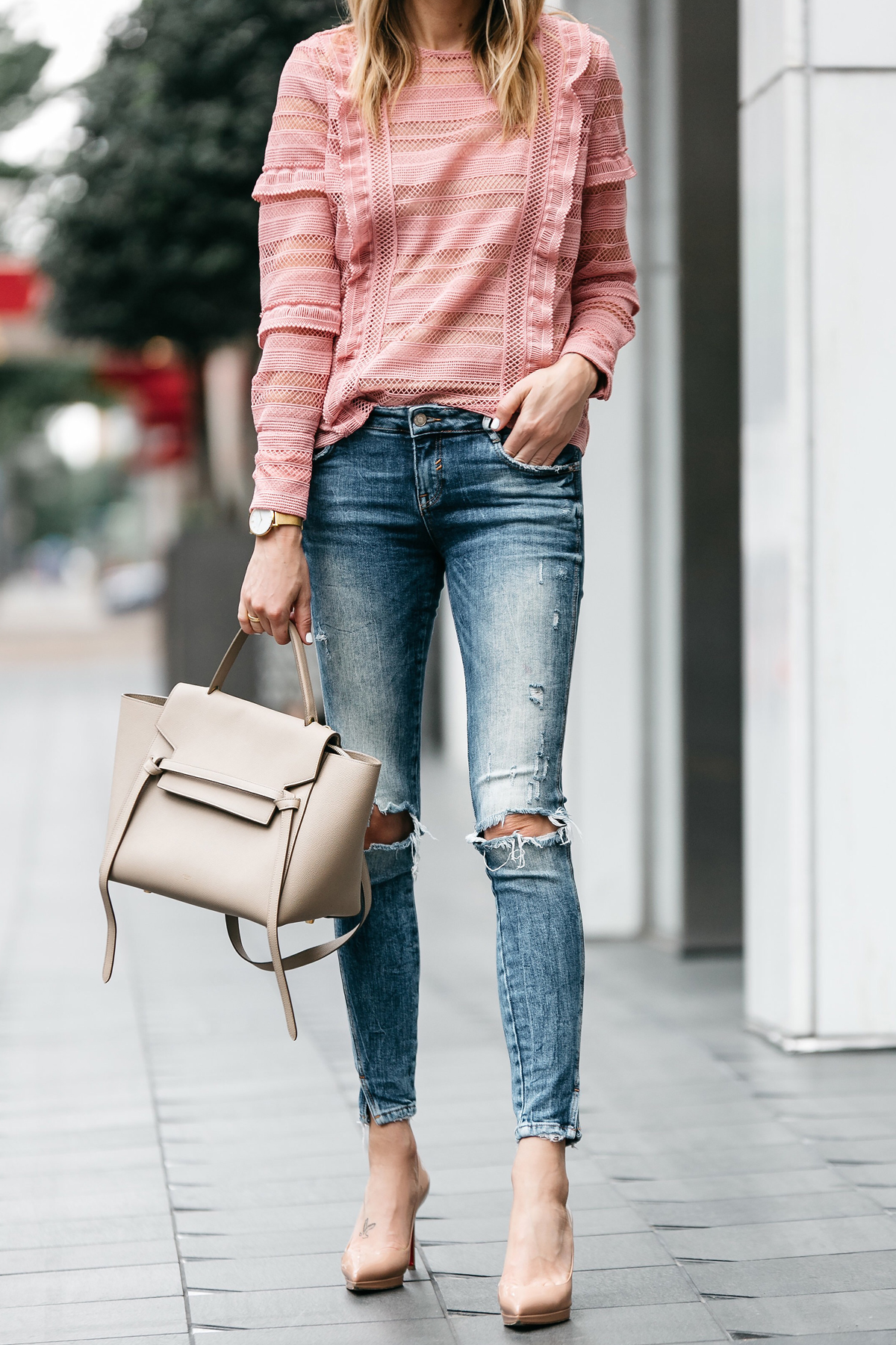 Fashion Jackson, Dallas Blogger, Fashion Blogger, Street Style, Self-Portrait Pink Lace Top, Denim Ripped Skinny Jeans, Christian Louboutin Pigalle Nude Pumps, Celine Belt Bag, Karen Walker Sunglasses