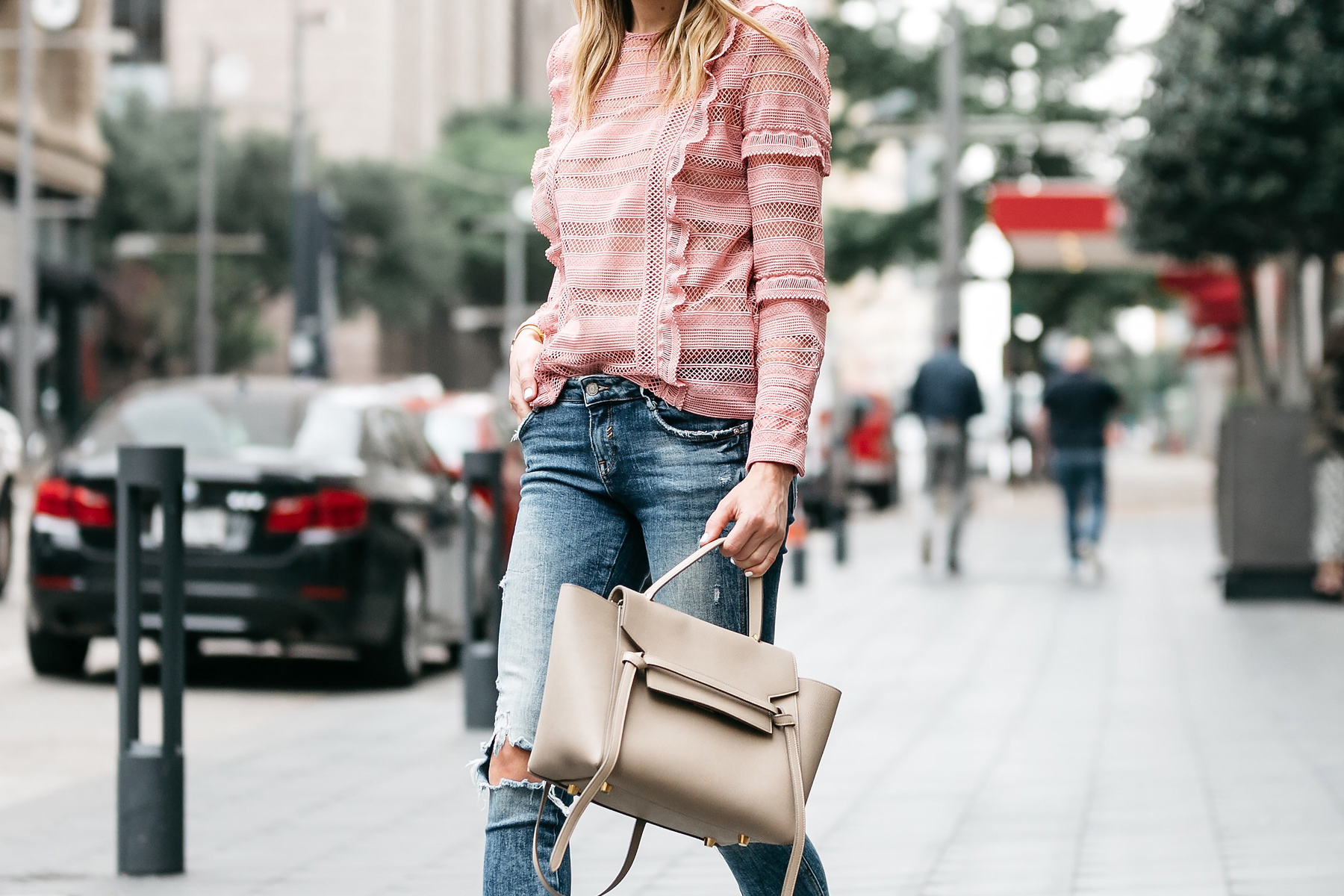 Fashion Jackson, Dallas Blogger, Fashion Blogger, Street Style, Self-Portrait Pink Lace Top, Denim Ripped Skinny Jeans, Christian Louboutin Pigalle Nude Pumps, Celine Belt Bag, Karen Walker Sunglasses