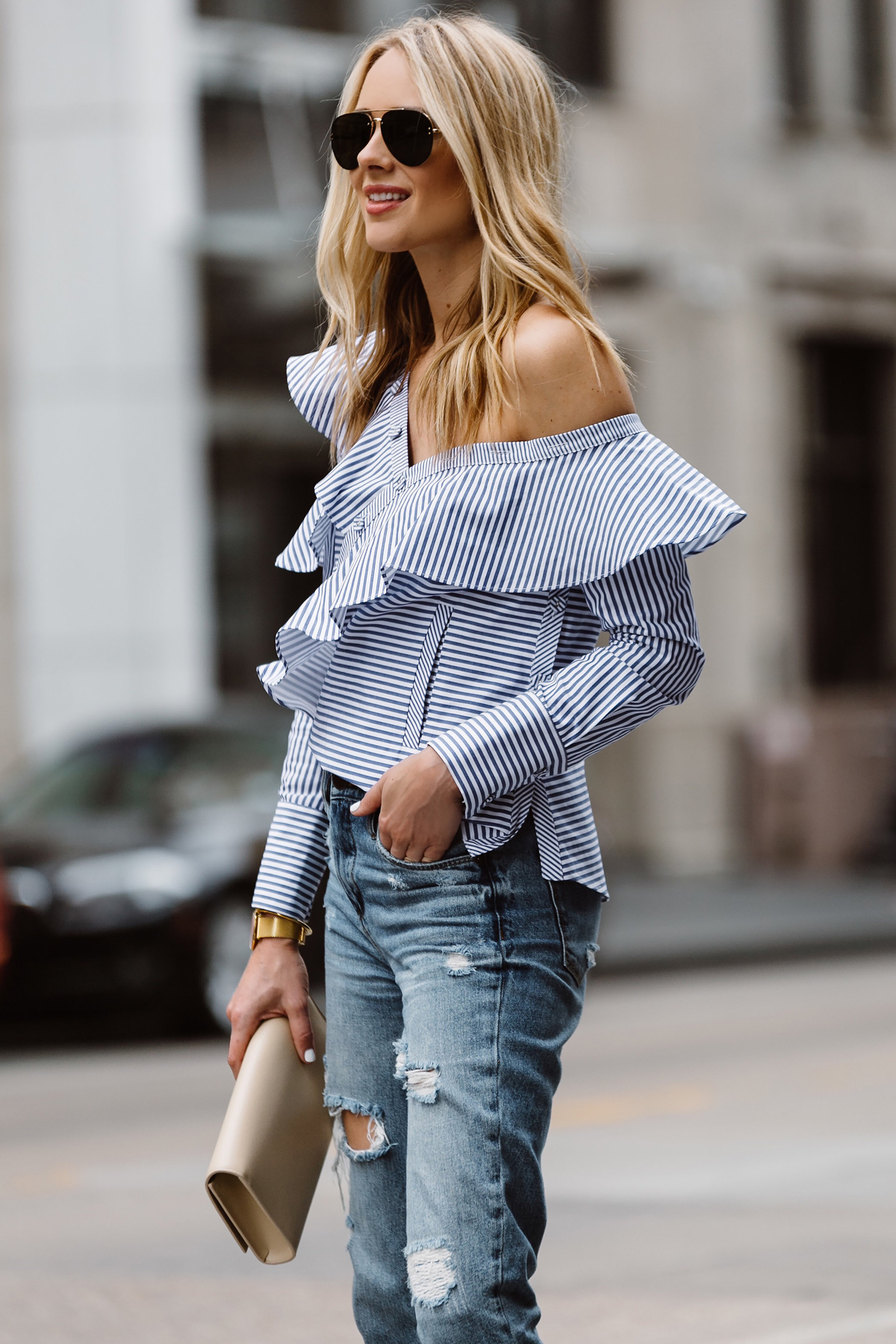 Fashion Jackson, Dallas Blogger, Fashion Blogger, Street Style, Self-Portrait Asymmetrical Ruffle Top, Blue White Stripe Top, Blanknyc Ms Throwback Relaxed Denim Ripped Jeans, Saint Laurent Monogram Clutch, Celine Aviator Sunglasses