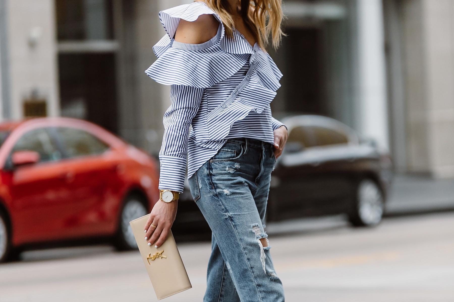 Fashion Jackson, Dallas Blogger, Fashion Blogger, Street Style, Self-Portrait Asymmetrical Ruffle Top, Blue White Stripe Top, Blanknyc Ms Throwback Relaxed Denim Ripped Jeans, Saint Laurent Monogram Clutch