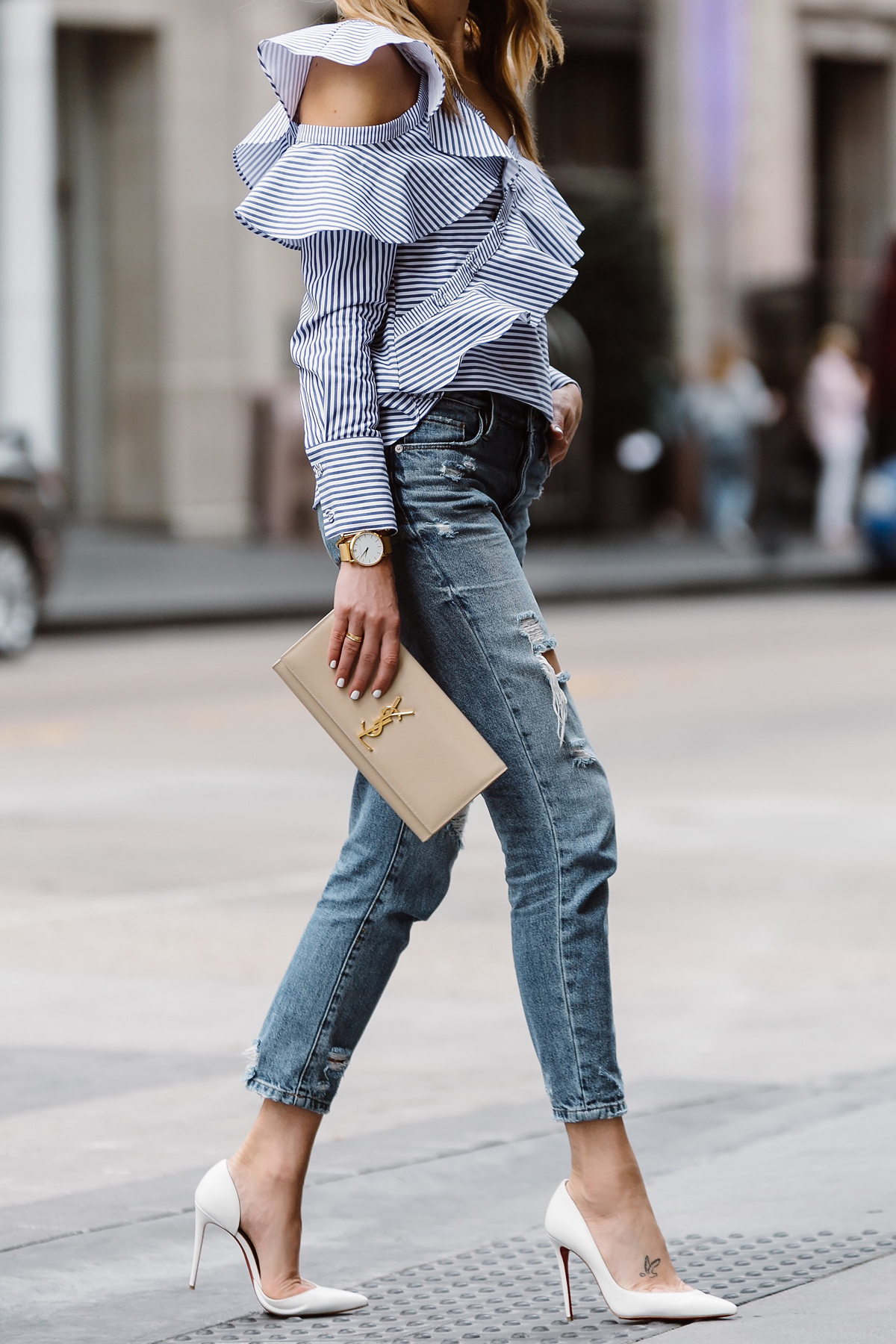 Fashion Jackson, Dallas Blogger, Fashion Blogger, Street Style, Self-Portrait Asymmetrical Ruffle Top, Blue White Stripe Top, Blanknyc Ms Throwback Relaxed Denim Ripped Jeans, Saint Laurent Monogram Clutch, Christian Louboutin White Pumps