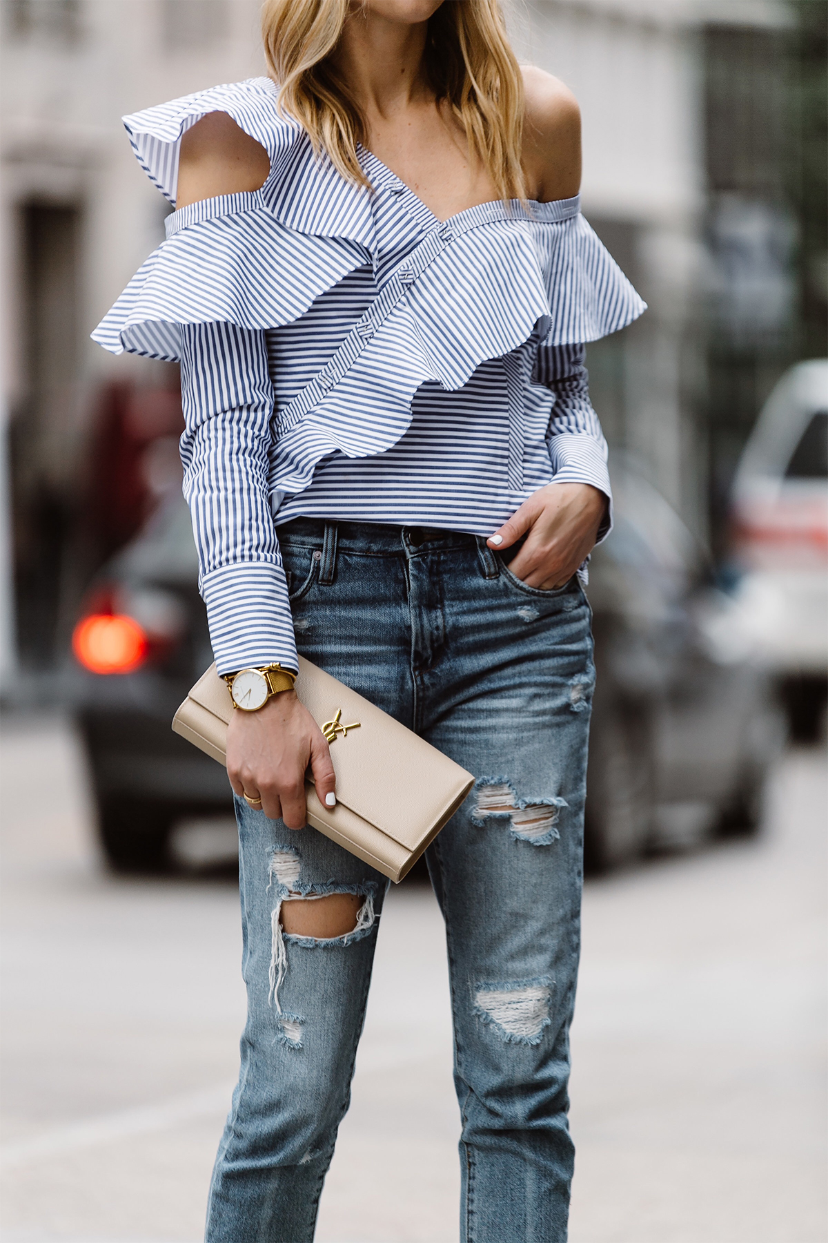 Fashion Jackson, Dallas Blogger, Fashion Blogger, Street Style, Self-Portrait Asymmetrical Ruffle Top, Blue White Stripe Top, Blanknyc Ms Throwback Relaxed Denim Ripped Jeans, Saint Laurent Monogram Clutch