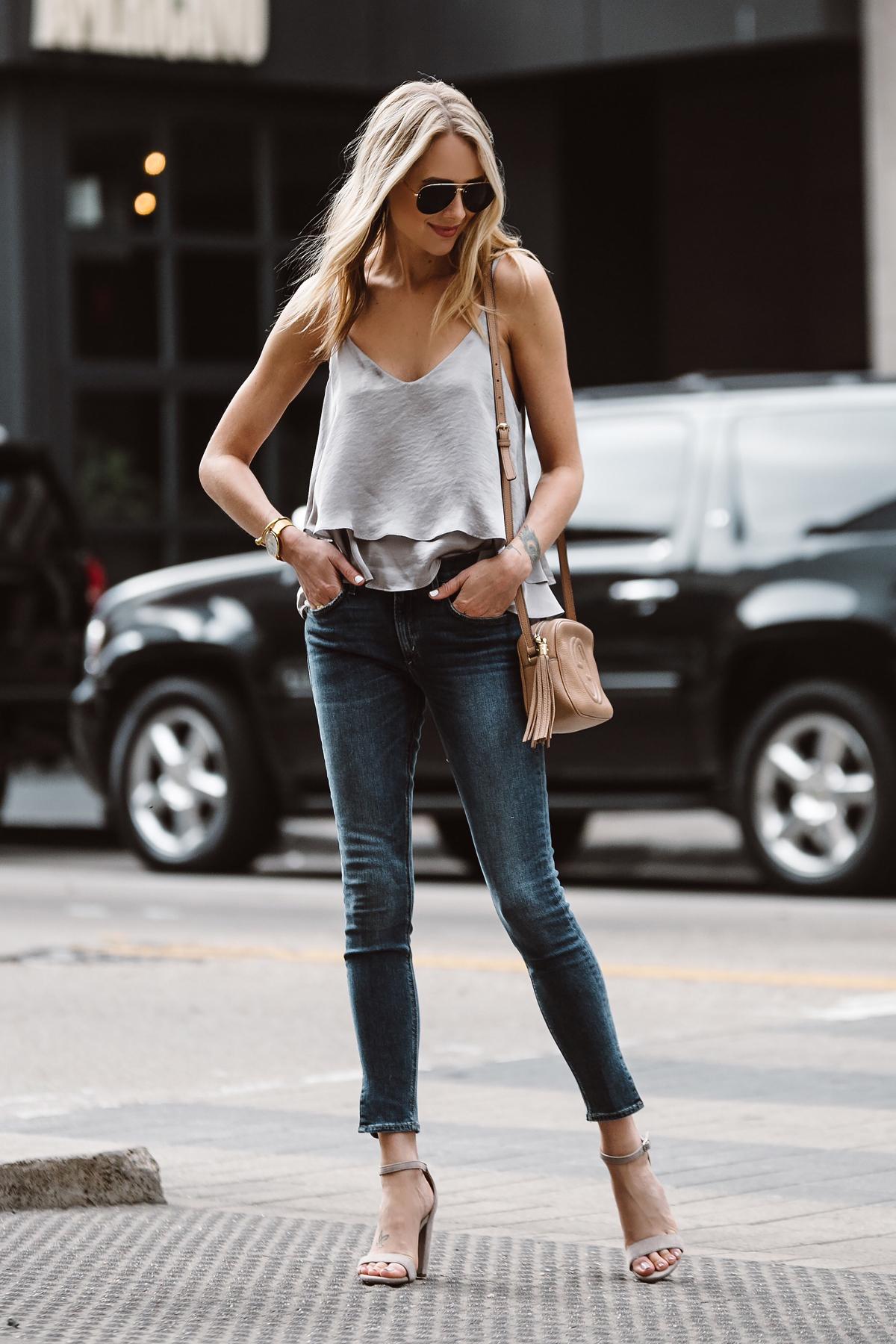 Fashion Jackson, Dallas Blogger, Fashion Blogger, Street Style, Grey Ruffle Cami, Split Hem Denim Skinny Jeans, Steve Madden Carrson Ankle Strap Heeled Sandals, Gucci Soho Disco Handbag