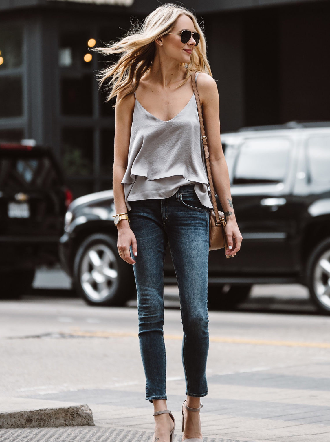 Fashion Jackson, Dallas Blogger, Fashion Blogger, Street Style, Grey Ruffle Cami, Split Hem Denim Skinny Jeans, Steve Madden Carrson Ankle Strap Heeled Sandals, Gucci Soho Disco Handbag
