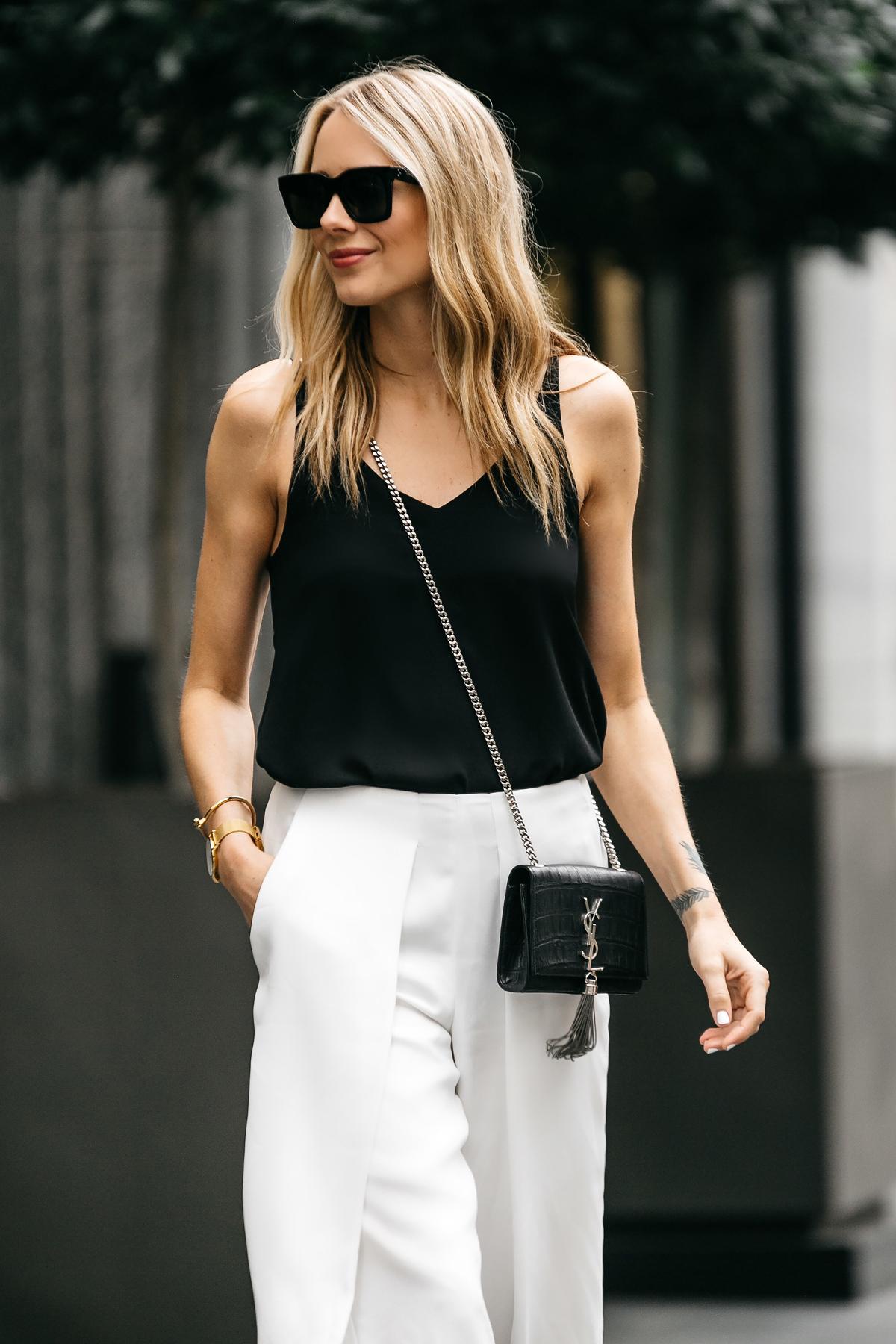 Fashion Jackson, Dallas Blogger, Fashion Blogger, Street Style, Topshop Black Cami Tanktop, White Culottes, Saint Laurent Monogram Cassandre Crossbody Handbag