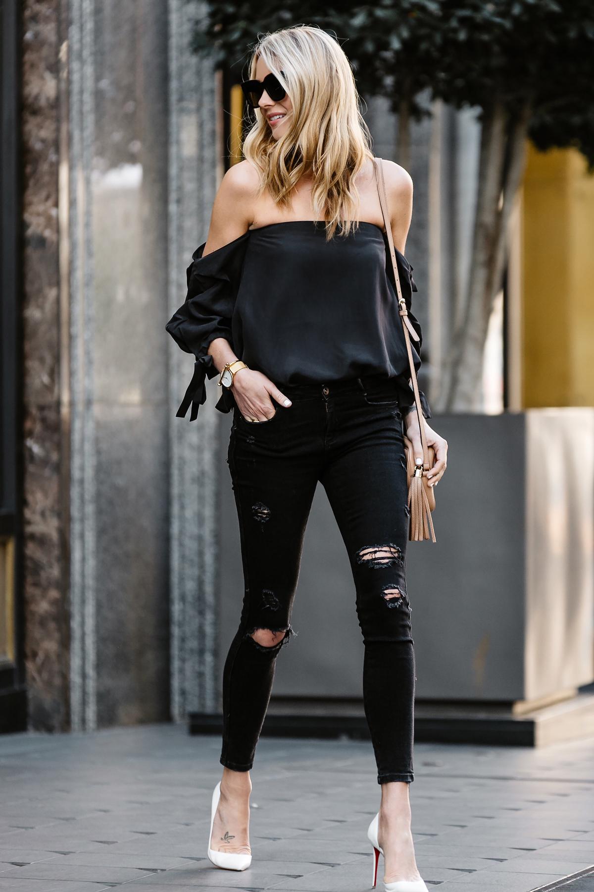 Fashion Jackson, Dallas Blogger, Fashion Blogger, Street Style, Club Monaco Liki Silk Top, Black Off-the-Shoulder Top, Black Ripped Skinny Jeans, Christian Louboutin White Pumps, Gucci Soho Disco Crossbody