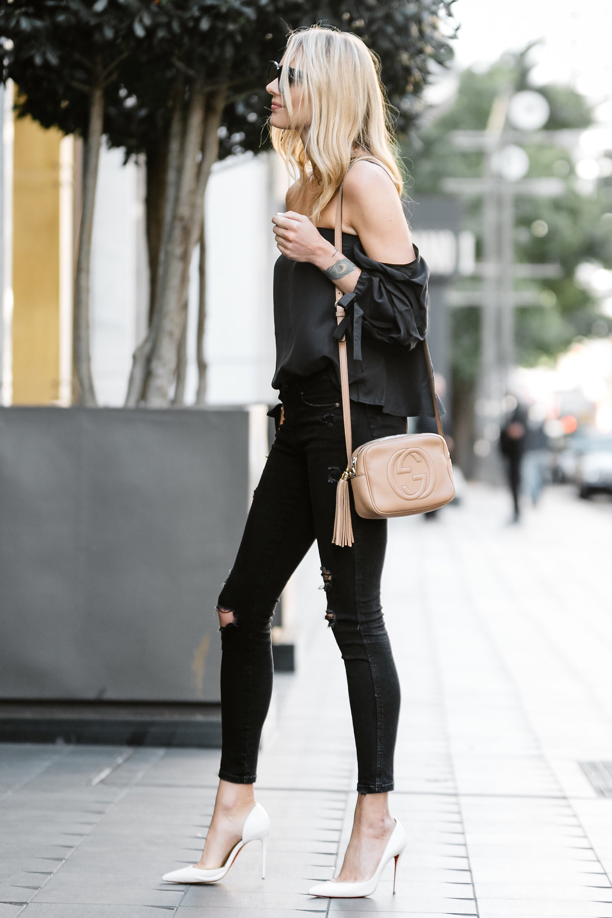 Fashion Jackson, Dallas Blogger, Fashion Blogger, Street Style, Club Monaco Liki Silk Top, Black Off-the-Shoulder Top, Black Ripped Skinny Jeans, Christian Louboutin White Pumps, Gucci Soho Disco Crossbody