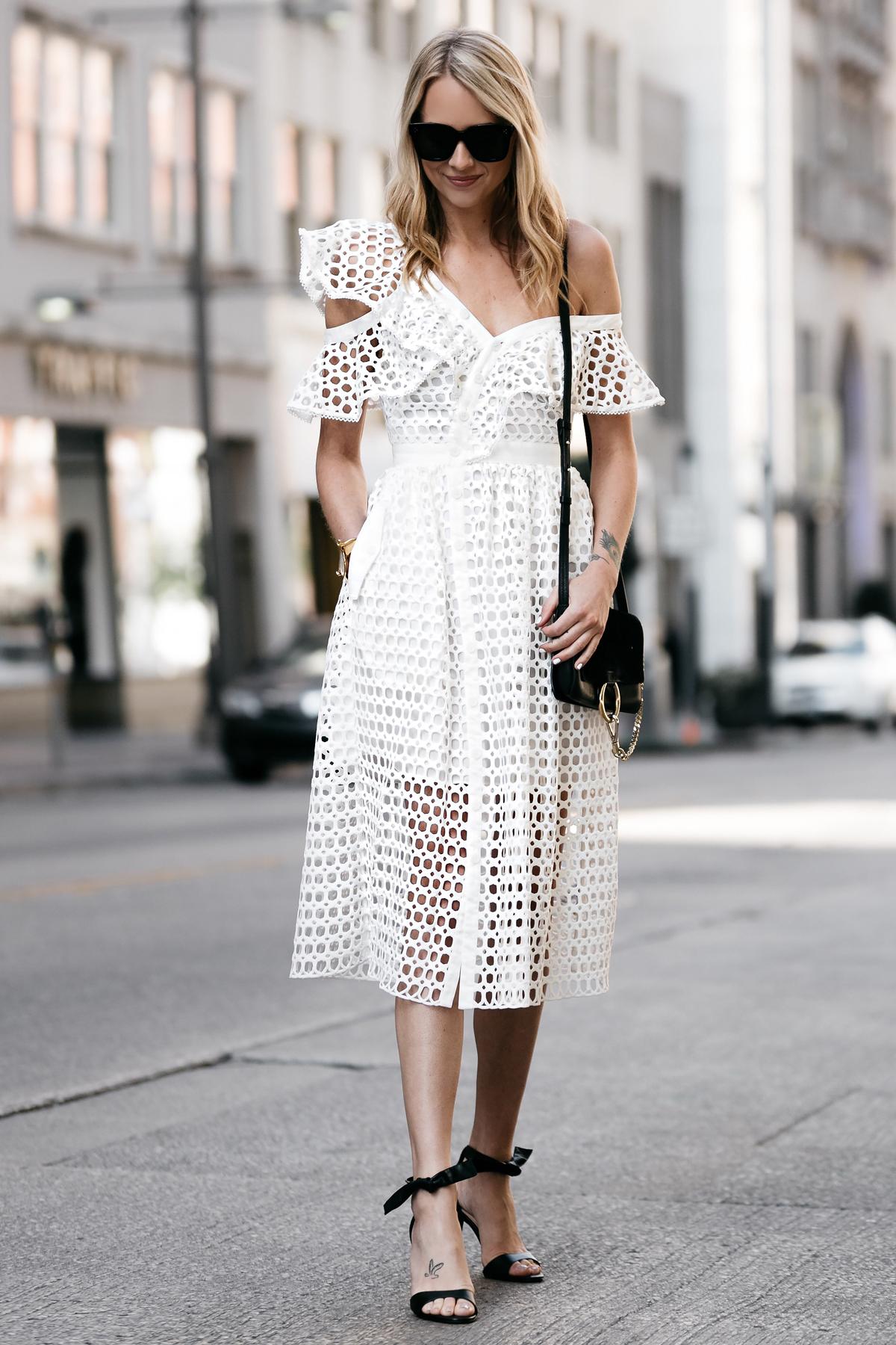 Fashion Jackson, Dallas Blogger, Fashion Blogger, Street Style, Self-Portrait White Lace Ruffle Sleeve Midi Dress, Chloe Faye Black Handbag, Black Ankle Strap Bow Heels
