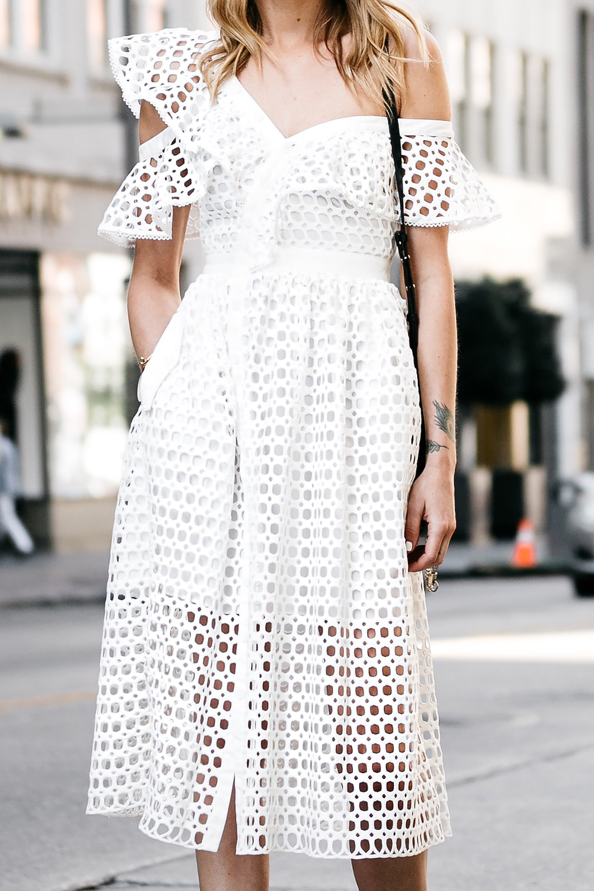 Fashion Jackson, Dallas Blogger, Fashion Blogger, Street Style, Self-Portrait White Lace Ruffle Sleeve Midi Dress, Chloe Faye Black Handbag