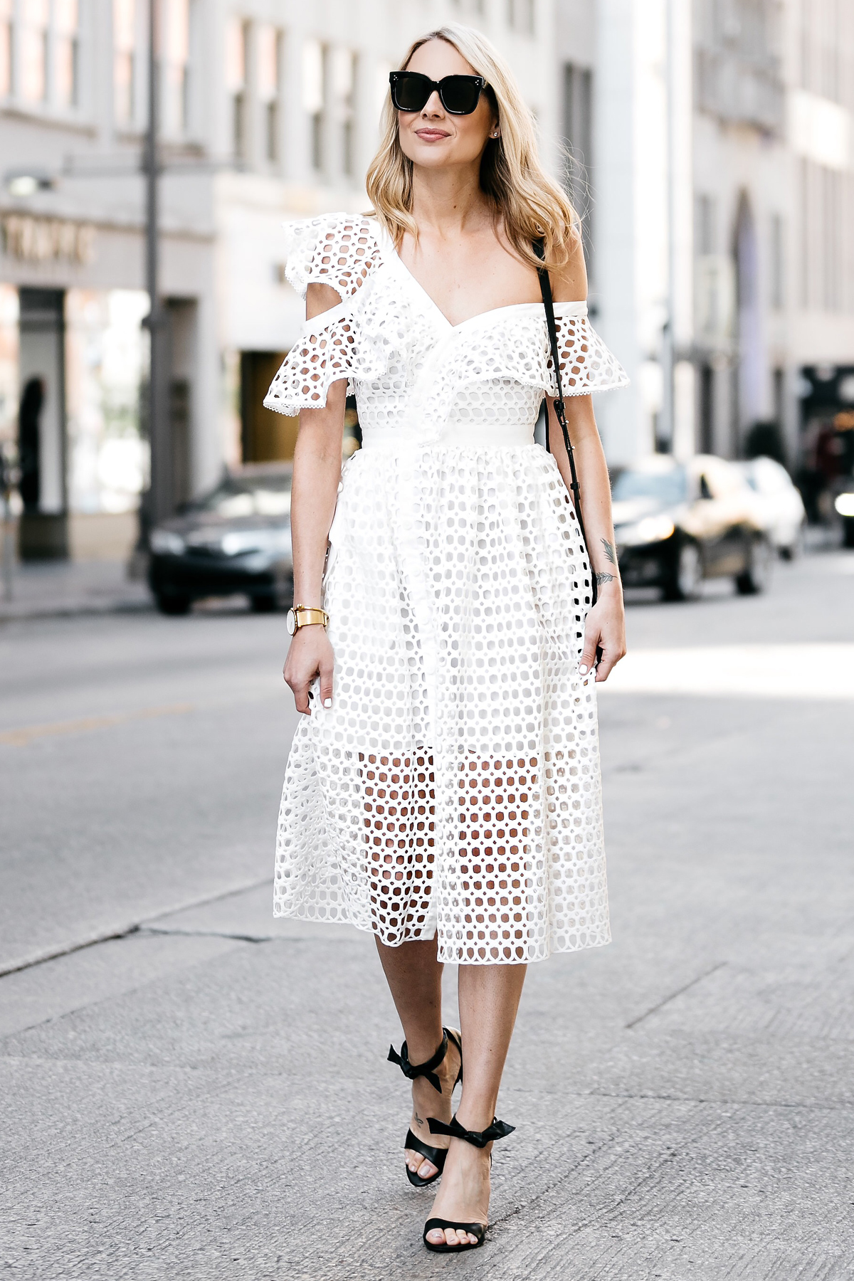 Fashion Jackson, Dallas Blogger, Fashion Blogger, Street Style, Self-Portrait White Lace Ruffle Sleeve Midi Dress, Chloe Faye Black Handbag, Black Ankle Strap Bow Heels