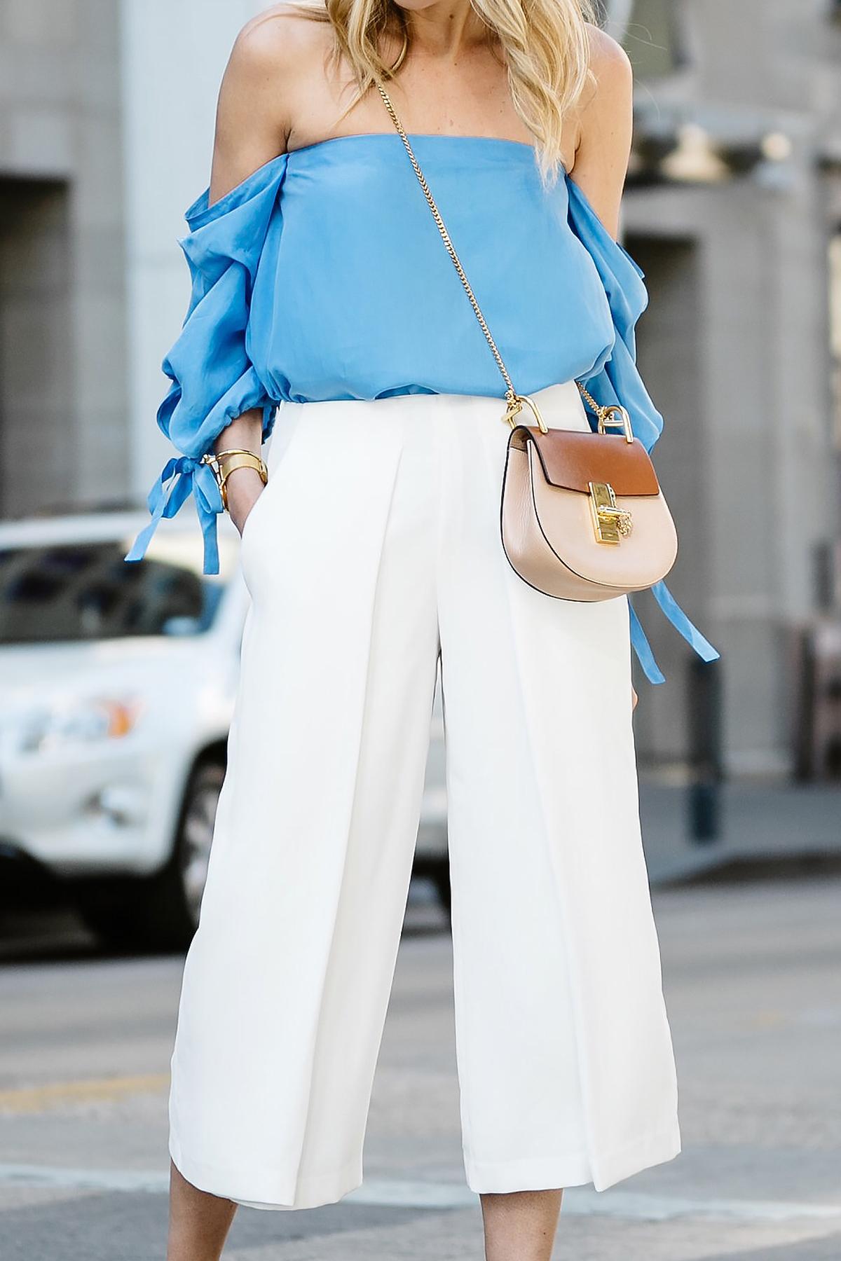 Fashion Jackson, Dallas Blogger, Fashion Blogger, Street Style, Club Monaco Liki Top, Blue Off-the-Shoulder Top, White Culottes, Chloe Drew Handbag