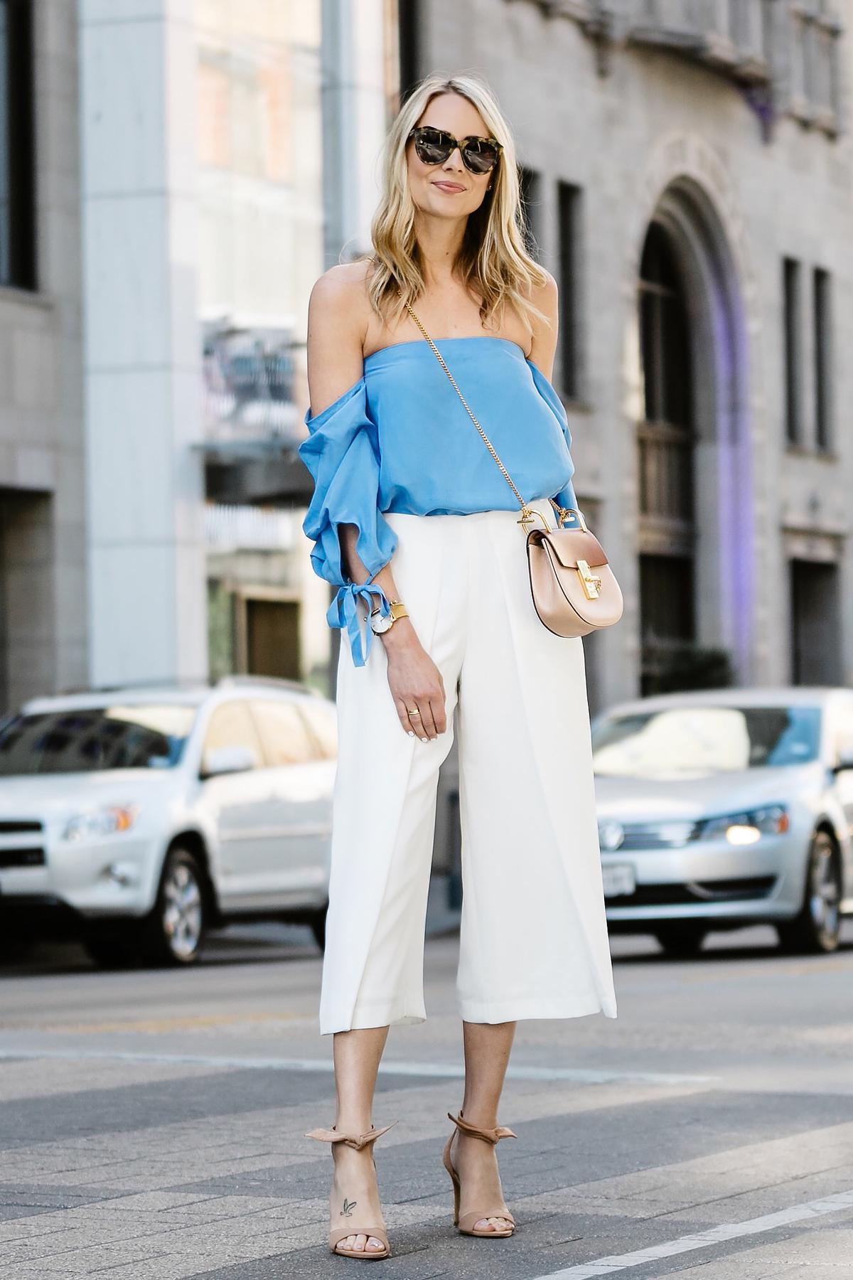Fashion Jackson, Dallas Blogger, Fashion Blogger, Street Style, Club Monaco Liki Top, Blue Off-the-Shoulder Top, White Culottes, Chloe Drew Handbag, Tan Ankle Strap Bow Heeled Sandals