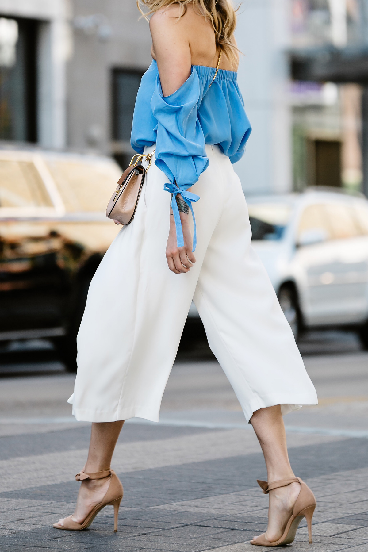 Fashion Jackson, Dallas Blogger, Fashion Blogger, Street Style, Club Monaco Liki Top, Blue Off-the-Shoulder Top, White Culottes, Chloe Drew Handbag, Tan Ankle Strap Bow Heeled Sandals