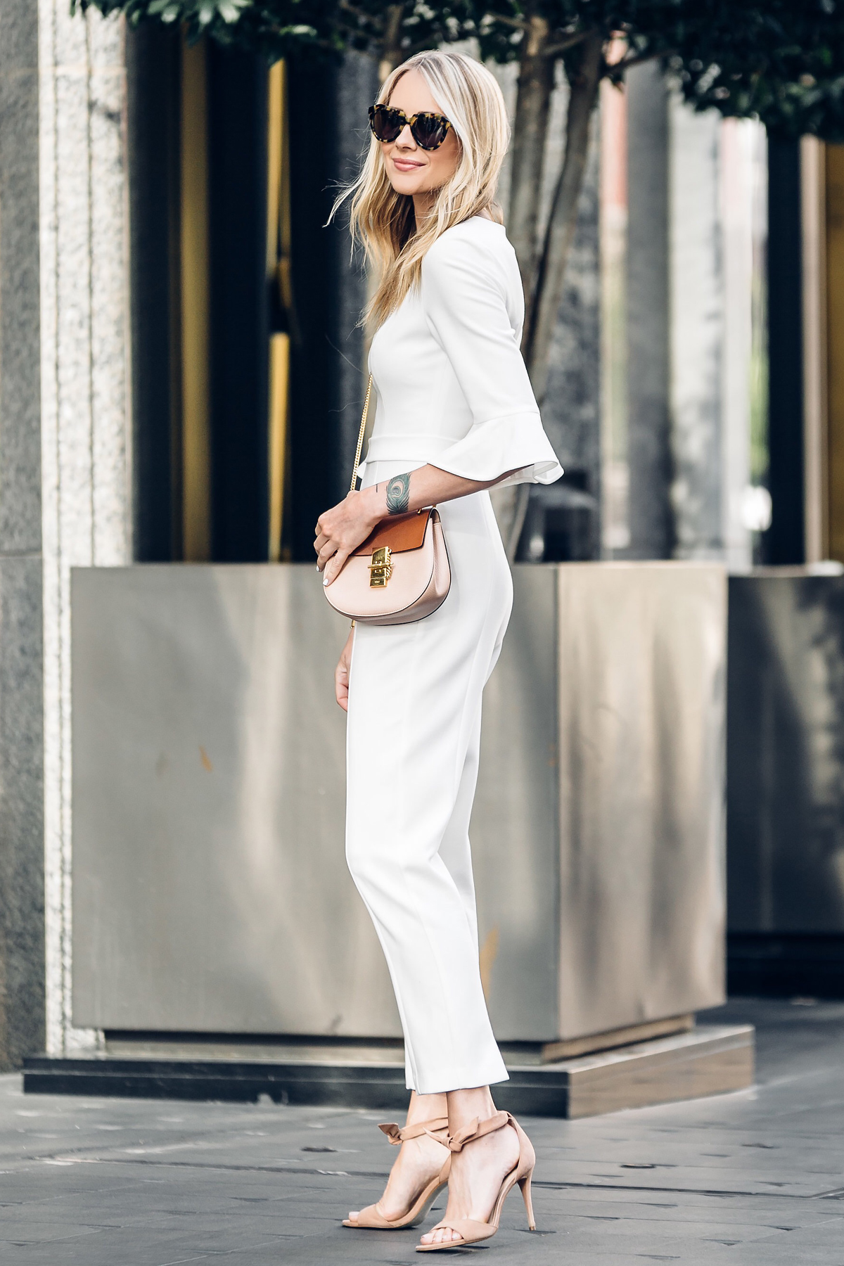 Fashion Jackson, Dallas Blogger, Fashion Blogger, Street Style, Black Halo White Jumpsuit, Chloe Drew Handbag, Tan Ankle Strap Bow Heeled Sandals