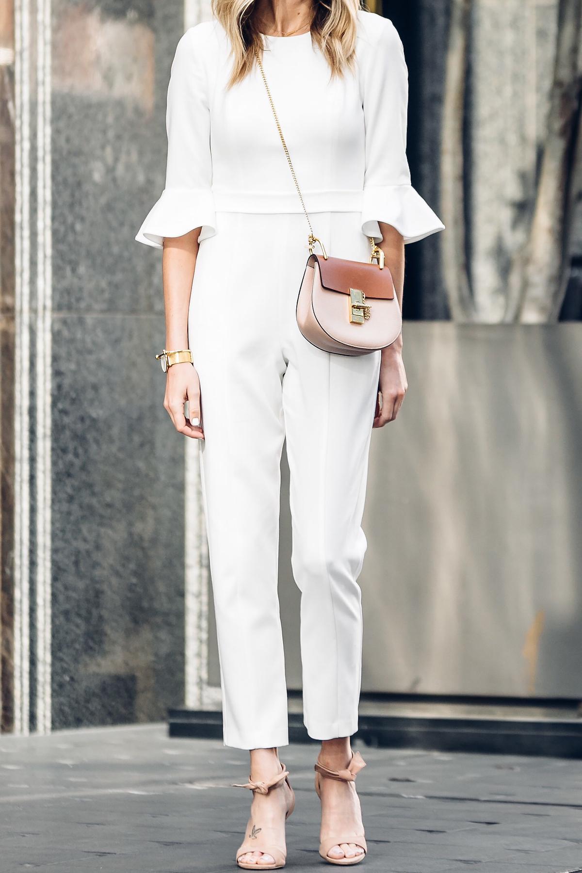 Fashion Jackson, Dallas Blogger, Fashion Blogger, Street Style, Black Halo White Jumpsuit, Chloe Drew Handbag, Tan Ankle Strap Bow Heeled Sandals