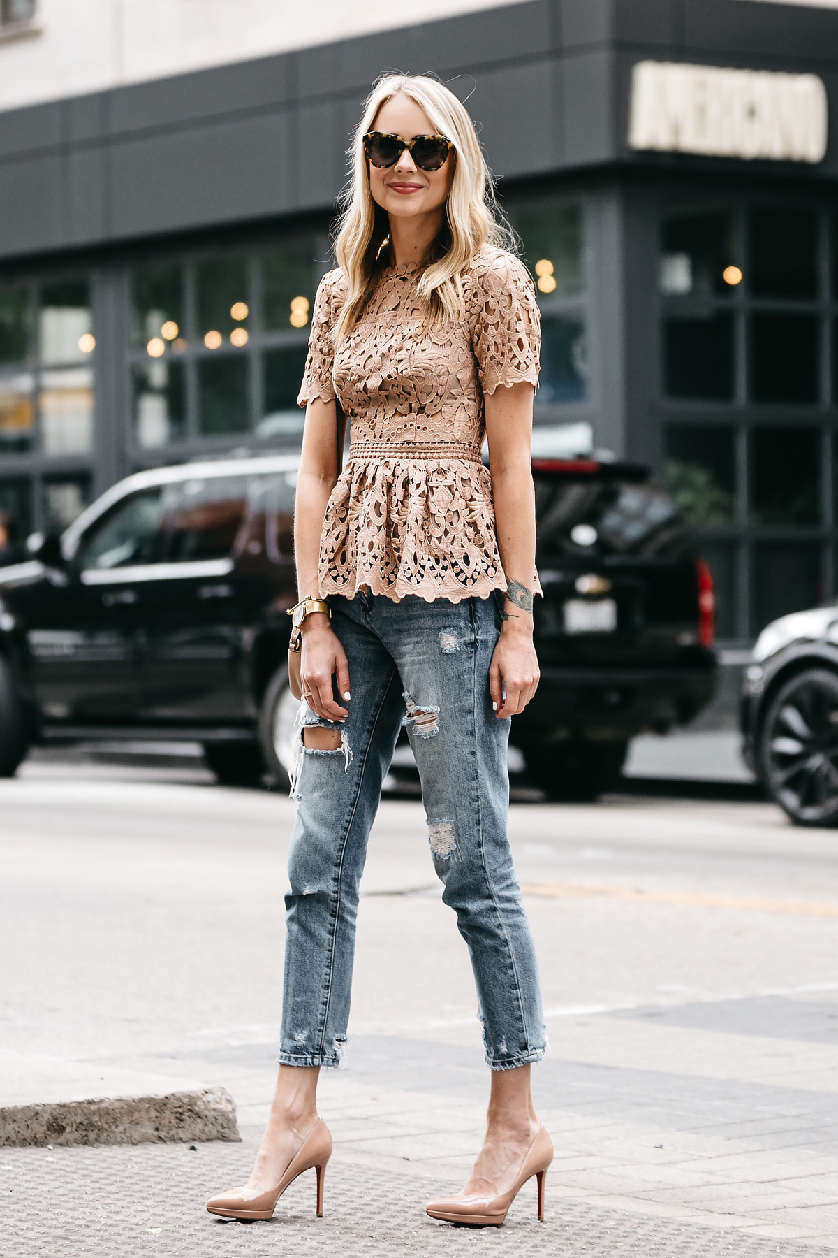 Fashion Jackson, Dallas Blogger, Fashion Blogger, Street Style, Ministry of Style Lush Lace Top, Blush Lace Peplum Top, Pink Lace Peplum Top, Beige Lace Peplum Top, Gucci Soho Disco Handbag, Denim Ripped Relaxed Jeans, Christian Louboutin Pigalle Nude Pumps