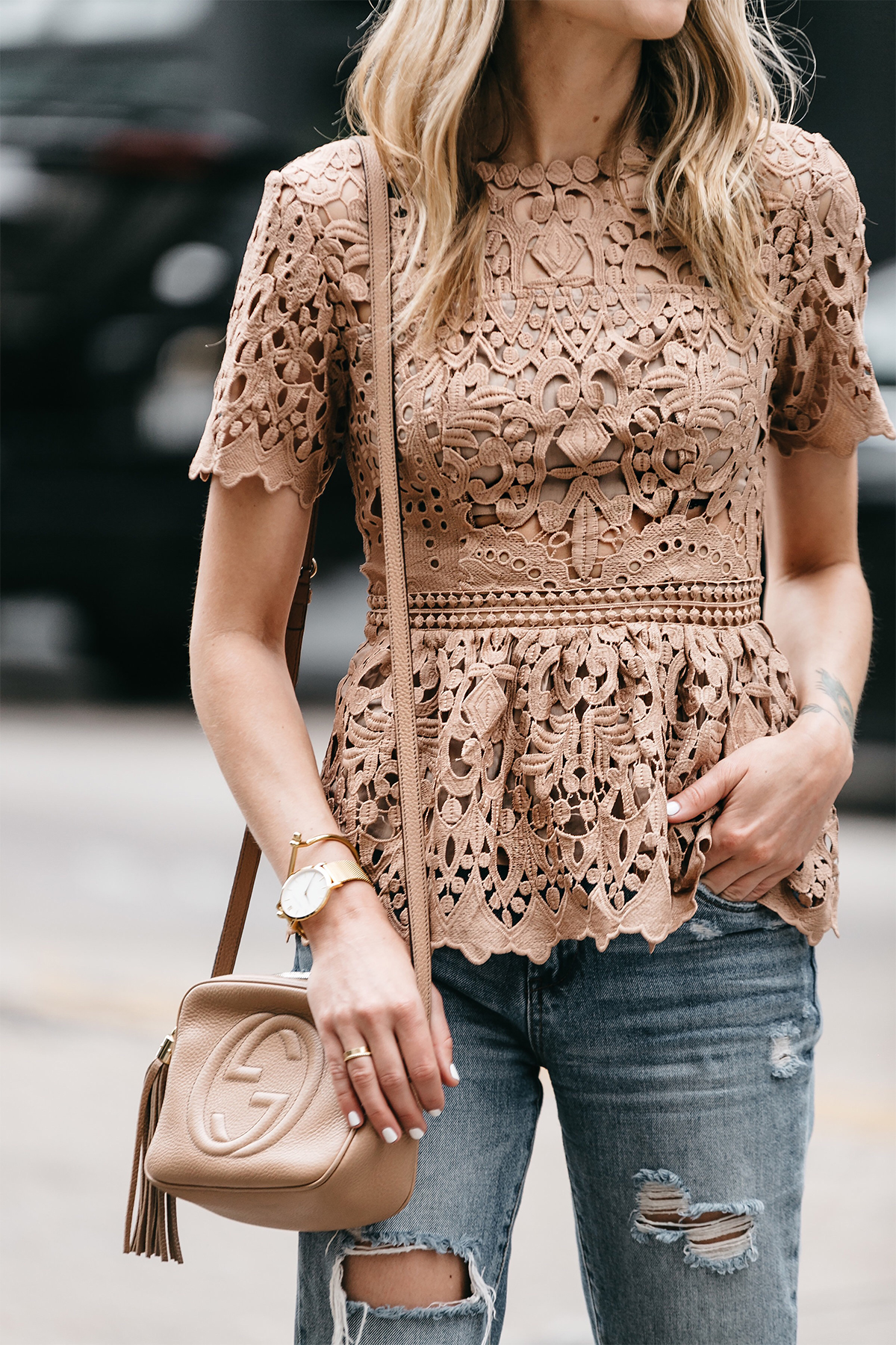 White Sleeveless Lace Peplum Top with Black Ankle Skinny Chinos