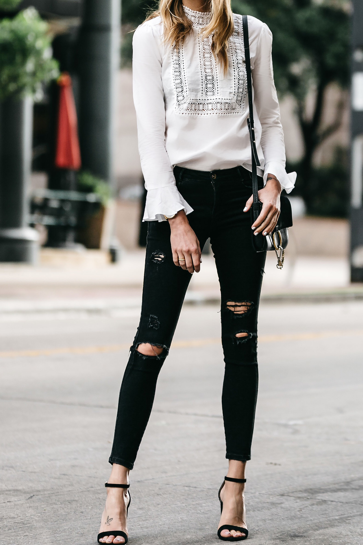 Fashion Jackson, Dallas Blogger, Fashion Blogger, Street Style, White Long Sleeve Bell Sleeve Lace Top, Black Ripped Skinny Jeans, Steve Madden Carrson Heels, Black Ankle Strap Heeled Sandals, Chloe Faye Black Handbag
