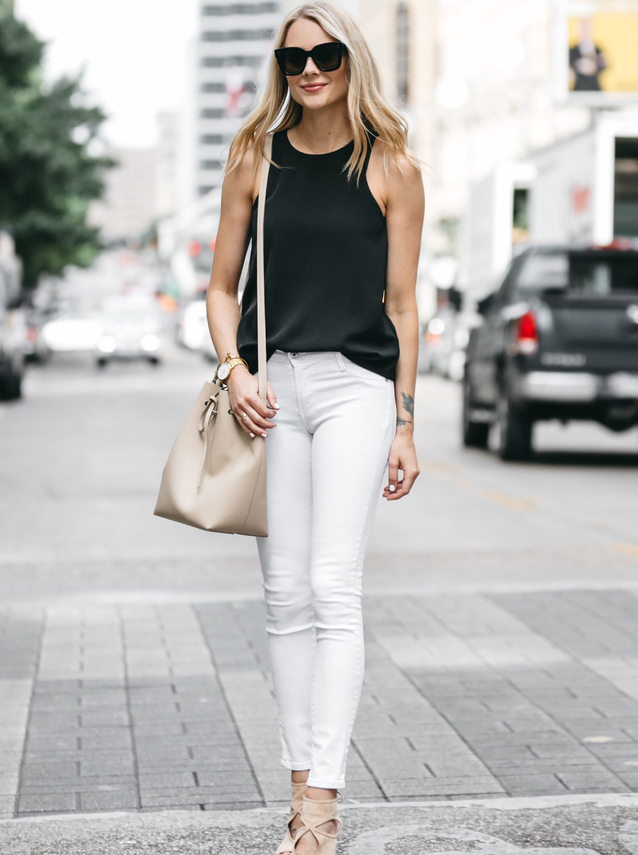 Fashion Jackson, Dallas Blogger, Fashion Blogger, Street Style, Everlane Black Tank, White Skinny Jeans, Mansur Gavriel Bucket Bag, Aquazzura Sexy Thang Heels