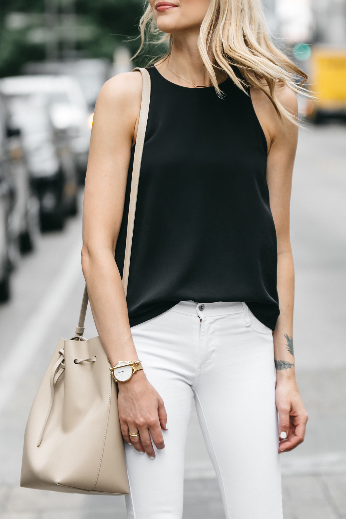 Fashion Jackson, Dallas Blogger, Fashion Blogger, Street Style, Everlane Black Tank, White Skinny Jeans, Mansur Gavriel Bucket Bag, Aquazzura Sexy Thang Heels