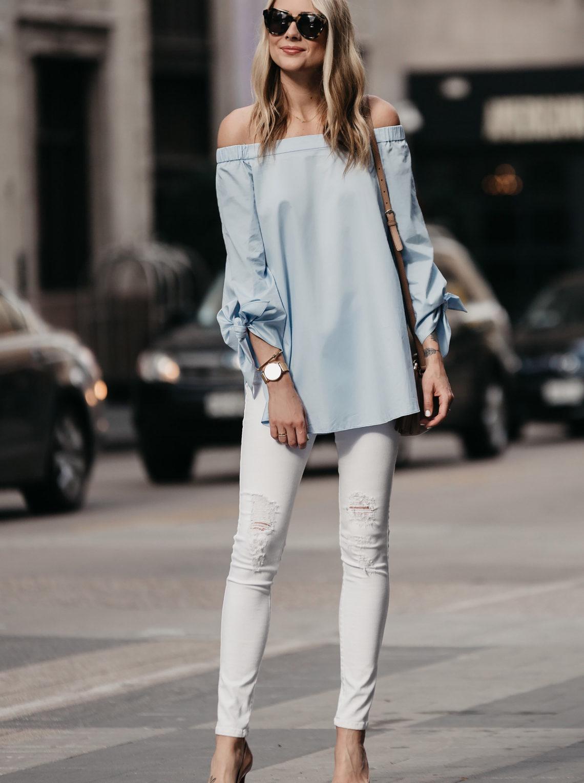 Fashion Jackson, Dallas Blogger, Fashion Blogger, Street Style, Tibi Off-the-shoulder Top, White Ripped Skinny Jeans, Gucci Soho Disco Handbag, Christian Louboutin Pigalle Nude Pumps