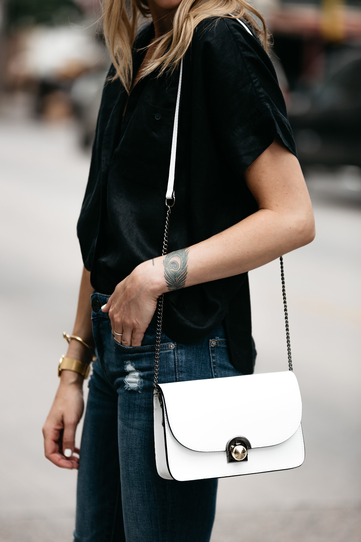 Fashion Jackson, Dallas Blogger, Fashion Blogger, Street Style, Everlane Black Button-Down Short Sleeve Shirt, DL1961 Denim Skinny Jeans, Christian Louboutin White Pumps, White Crossbody Handbag, Celine Sunglasses