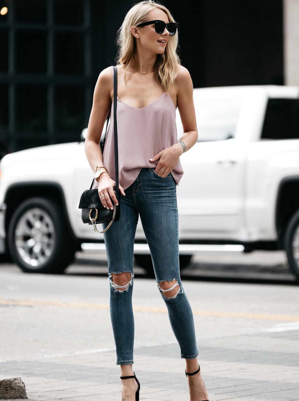 Fashion Jackson, Dallas Blogger, Fashion Blogger, Street Style, Topshop Blush Cami, Topshop Denim Ripped Skinny Jeans, Steve Madden Carrson Black Ankle Strap Heeled Sandals, Chloe Faye Handbag