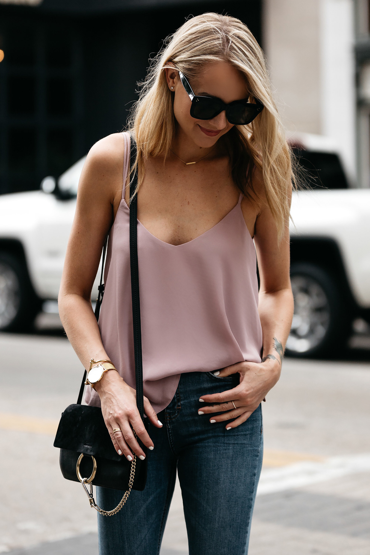 Fashion Jackson, Dallas Blogger, Fashion Blogger, Street Style, Topshop Blush Cami, Topshop Denim Ripped Skinny Jeans, Steve Madden Carrson Black Ankle Strap Heeled Sandals, Chloe Faye Handbag