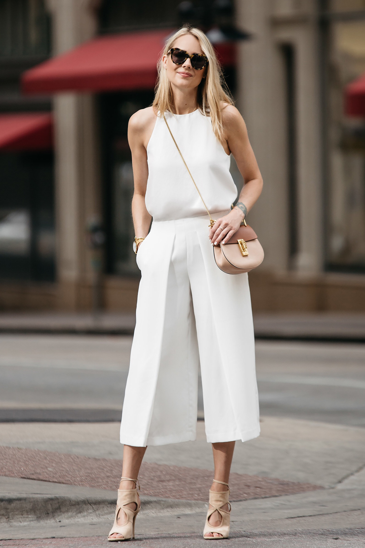 Fashion Jackson, Dallas Blogger, Fashion Blogger, Street Style, Everlane White Tank, White Wide Leg Culottes, Chloe Drew Handbag, Aquazzura Sexy Thang Heels
