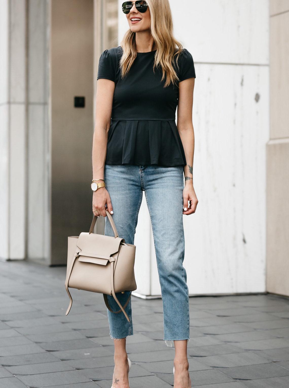 Fashion Jackson, Dallas Blogger, Fashion Blogger, Street Style, Susana Monaco Short Sleeve Peplum Top, Topshop Raw Hem Denim Jeans, Christian Louboutin White Pumps, Celine Belt Bag